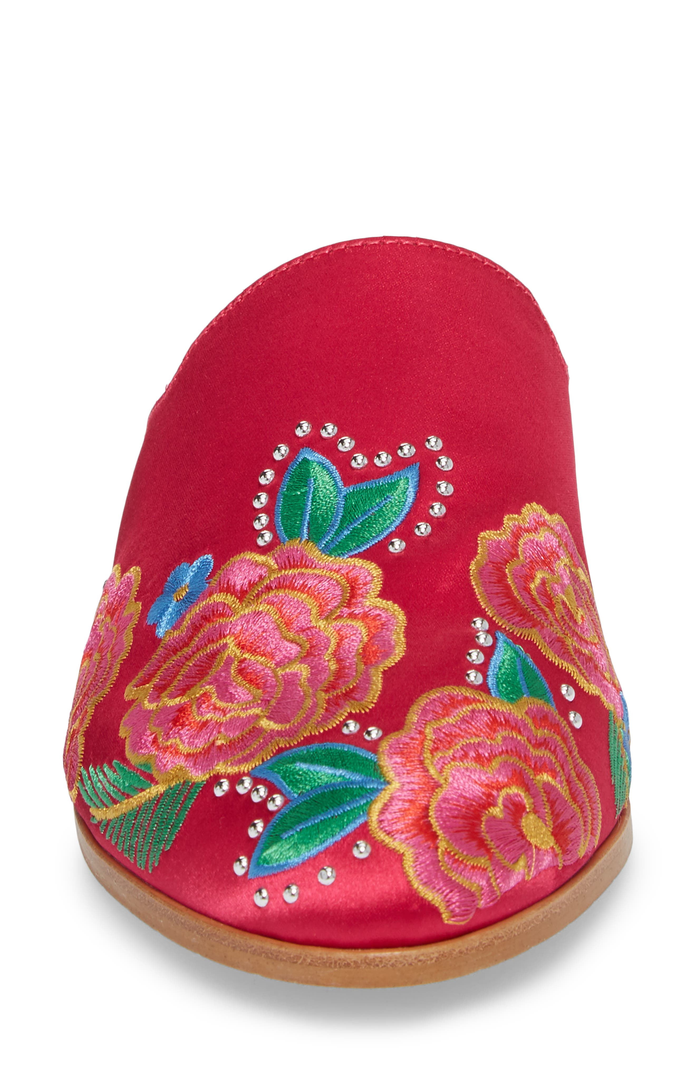 Roxanne Mule,                             Alternate thumbnail 4, color,                             Hot Pink Satin