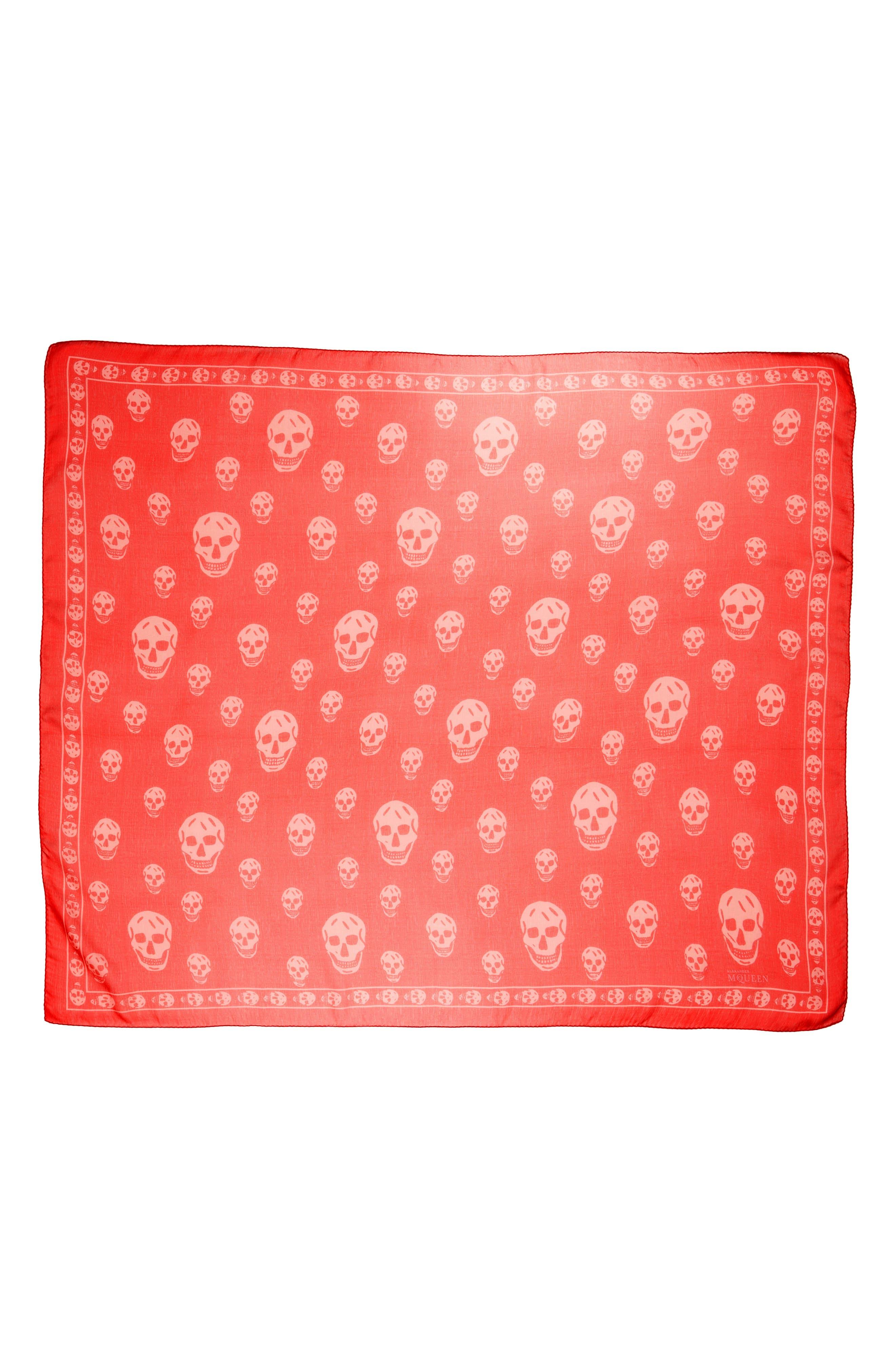 Skull Foulard Silk Scarf,                         Main,                         color, Rosa Fluo