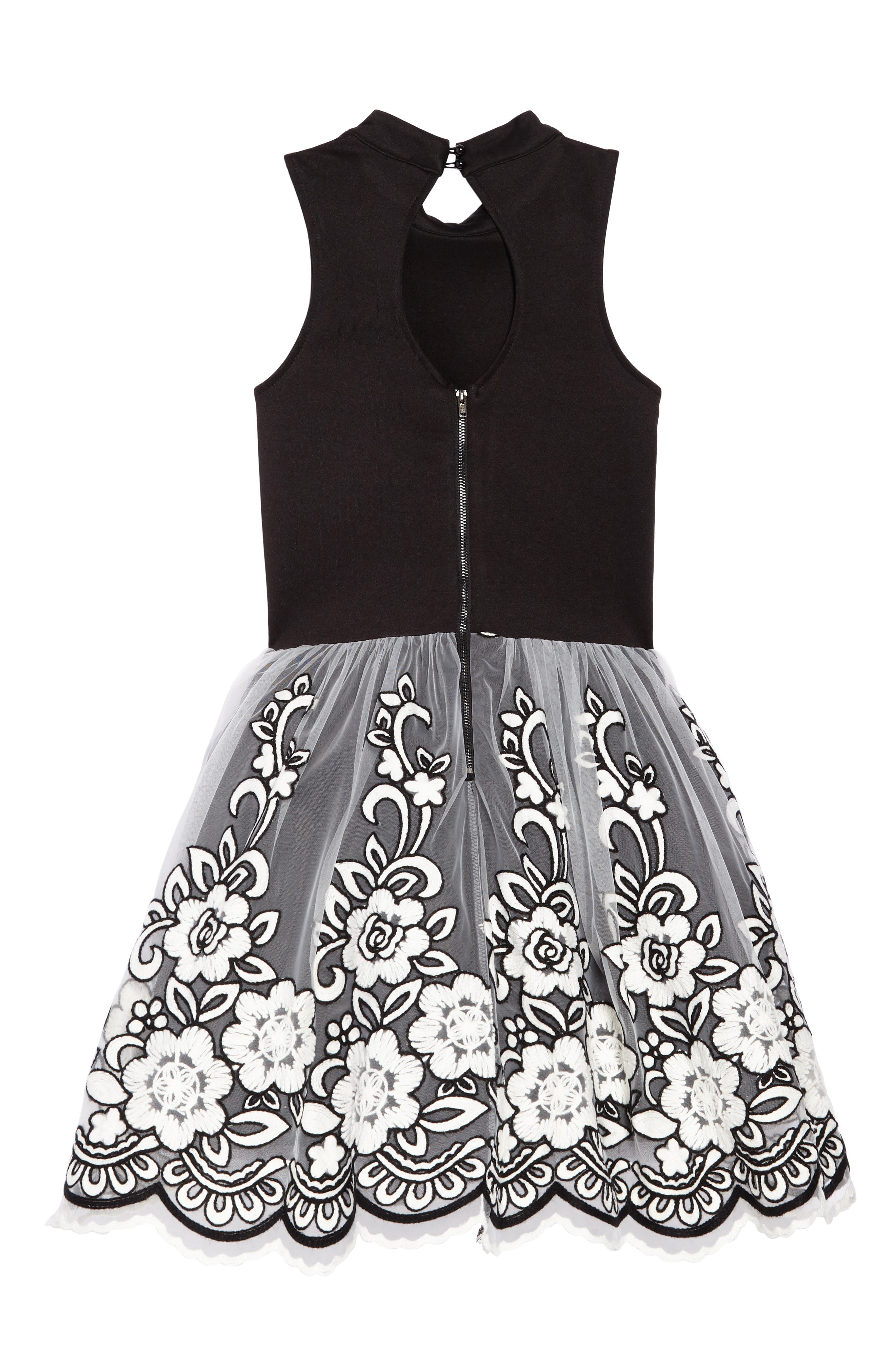 Grace Embroidered Tulle Dress,                             Alternate thumbnail 2, color,                             Black