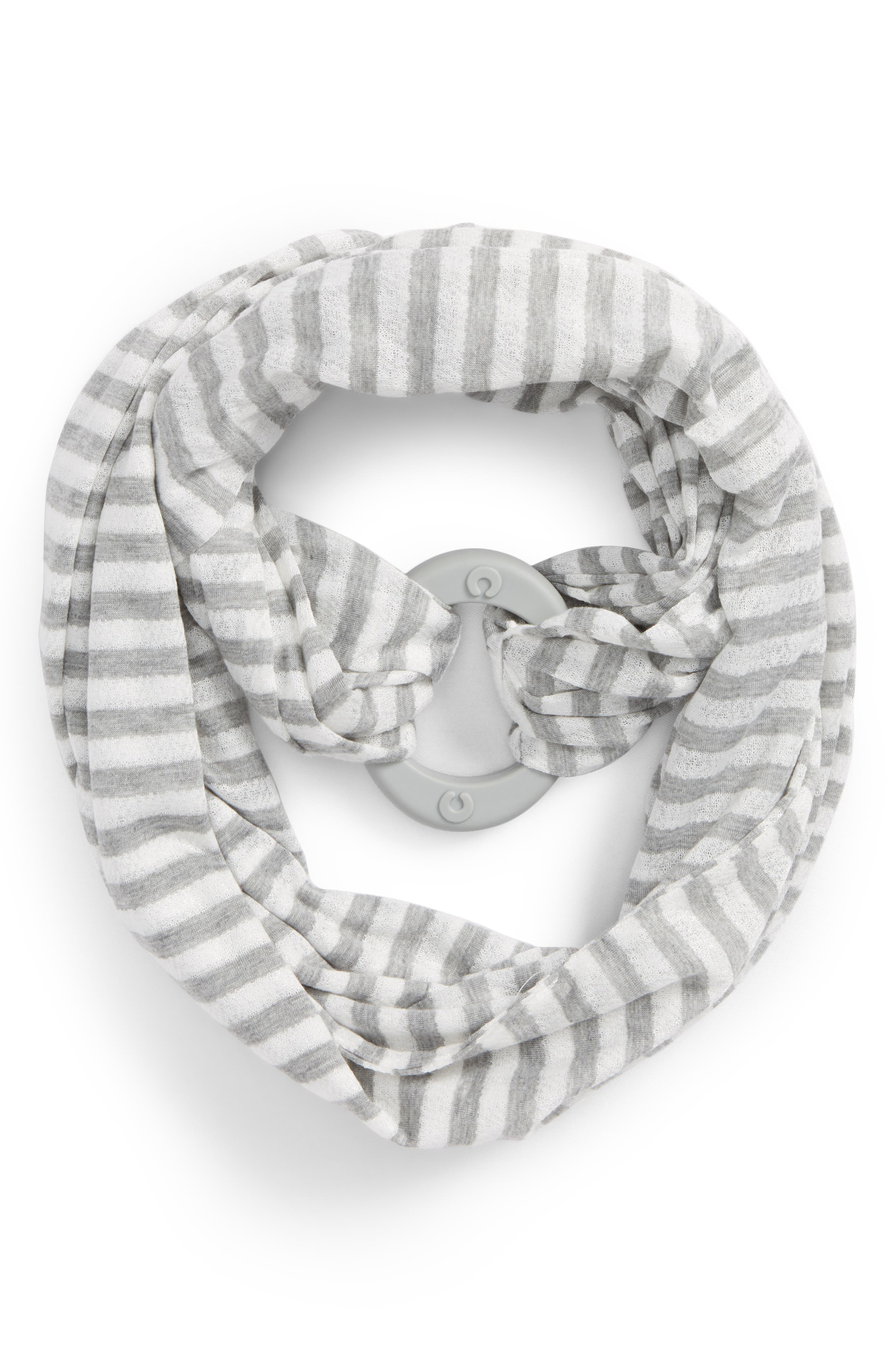 Teething Infinity Scarf,                             Main thumbnail 1, color,                             Gray And White Stripes