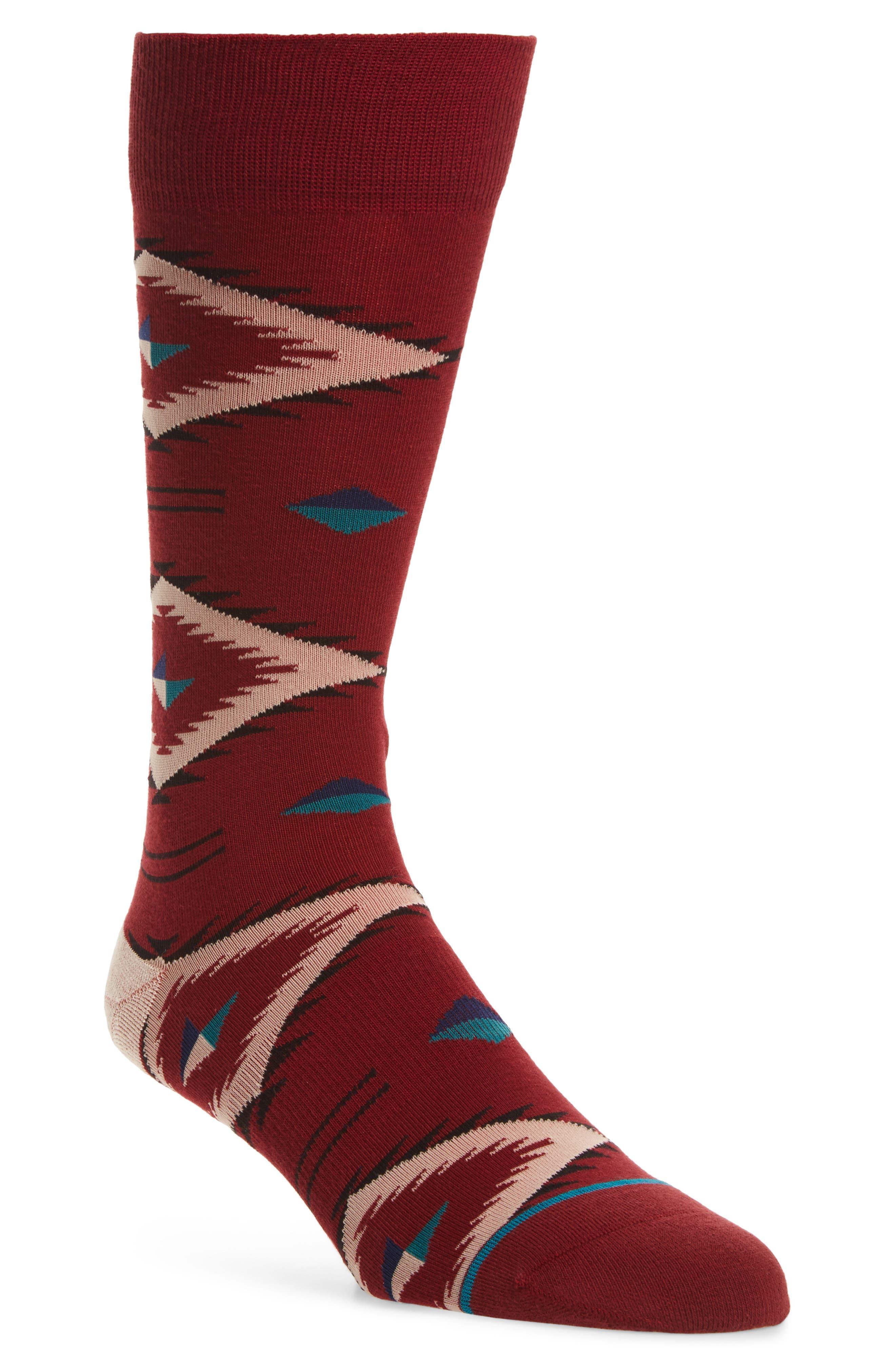 Burke Crew Socks,                         Main,                         color, Red