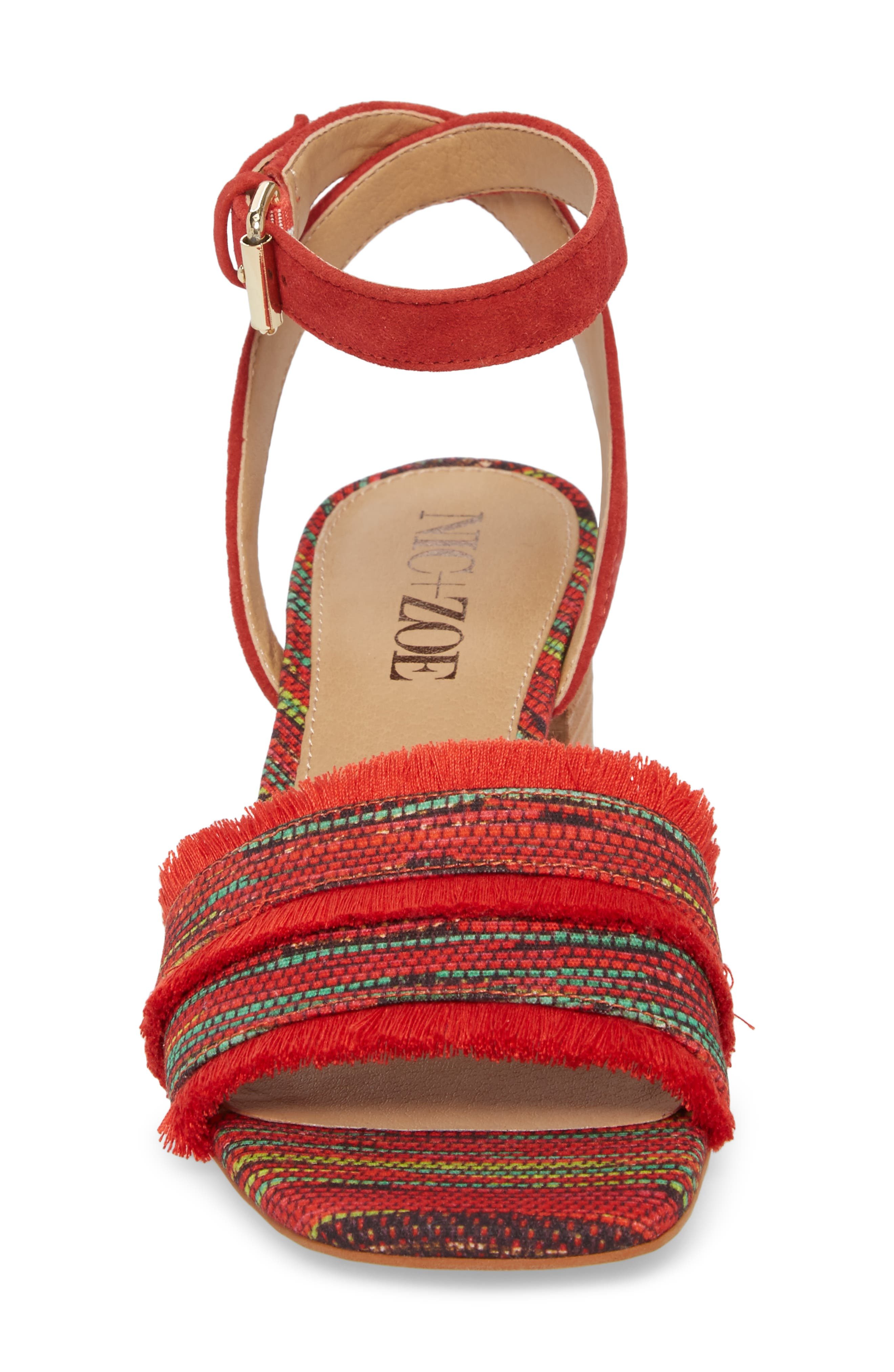 Zaria Fringed Sandal,                             Alternate thumbnail 4, color,                             Red Multi Fabric