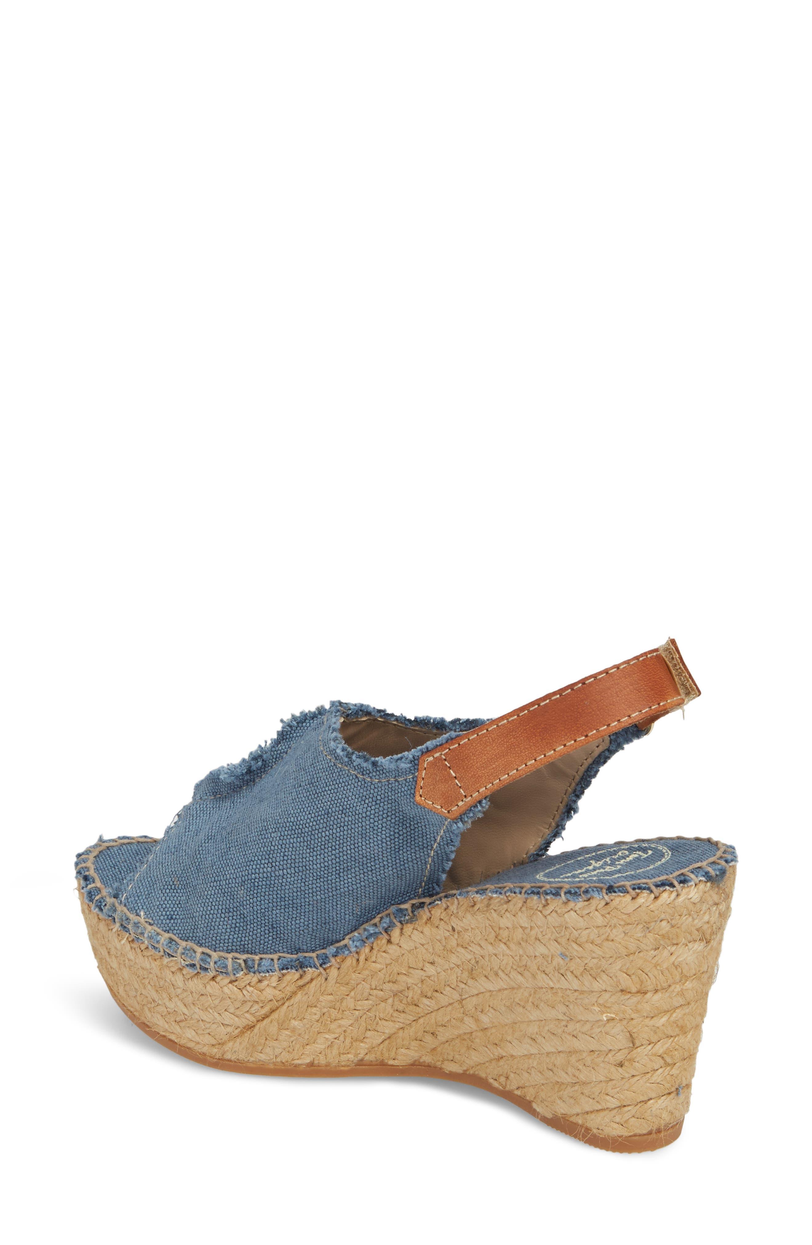 'Lugano' Espadrille Wedge Sandal,                             Alternate thumbnail 2, color,                             Blue Fabric