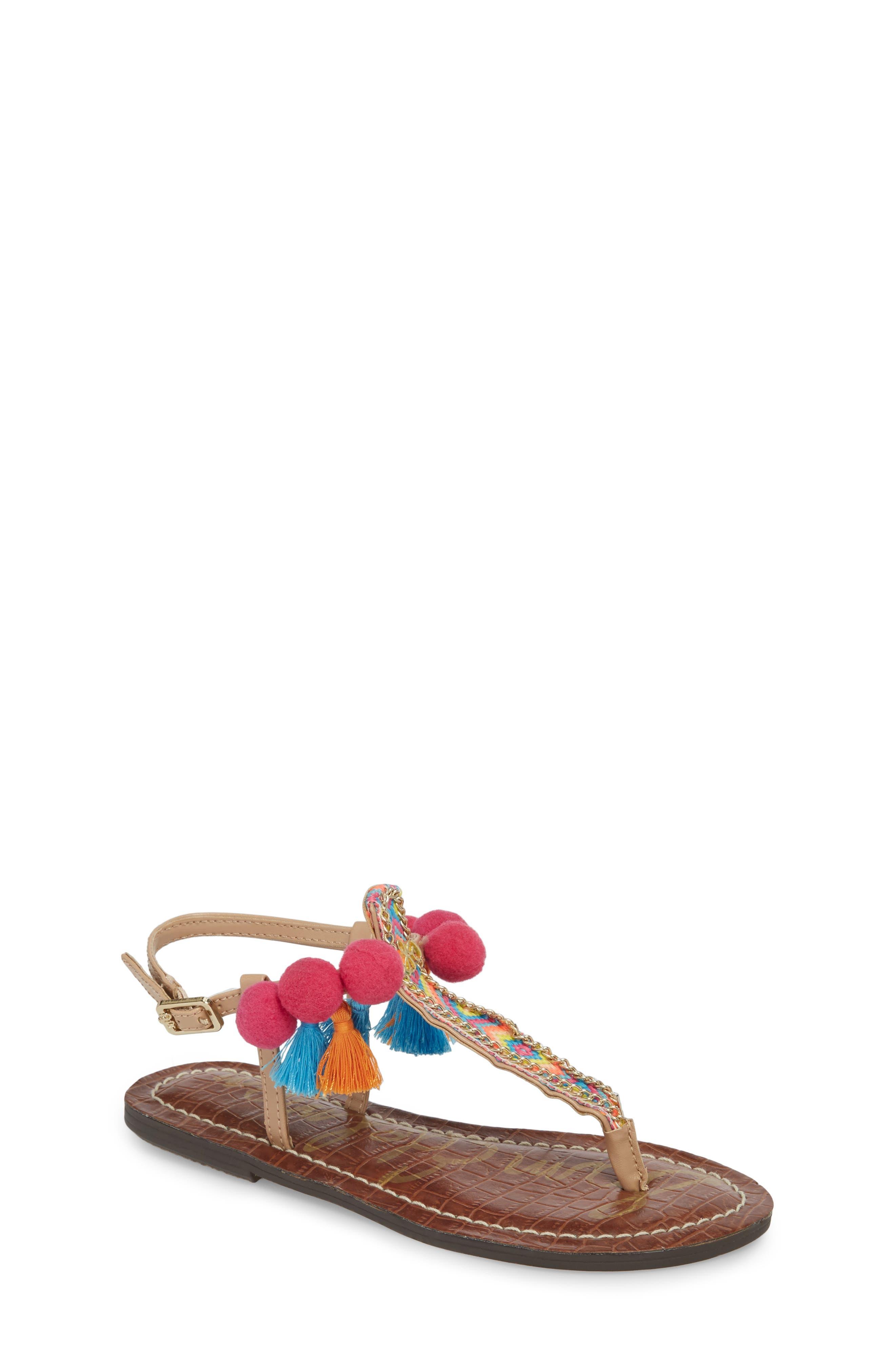Gigi Embellished Thong Sandal,                         Main,                         color, Natural Faux Leather