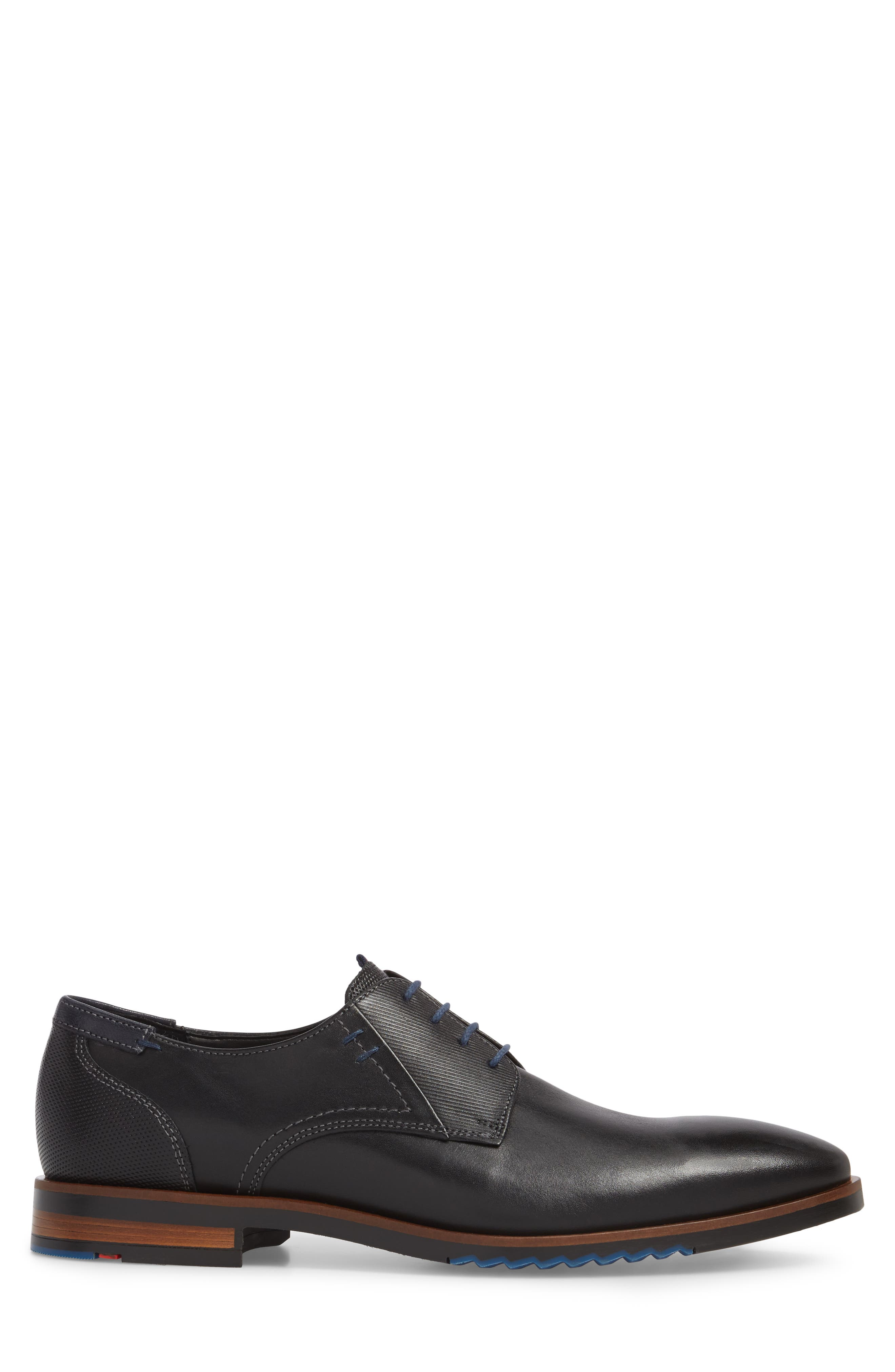 Deno Plain Toe Derby,                             Alternate thumbnail 3, color,                             Black/ Blue Leather