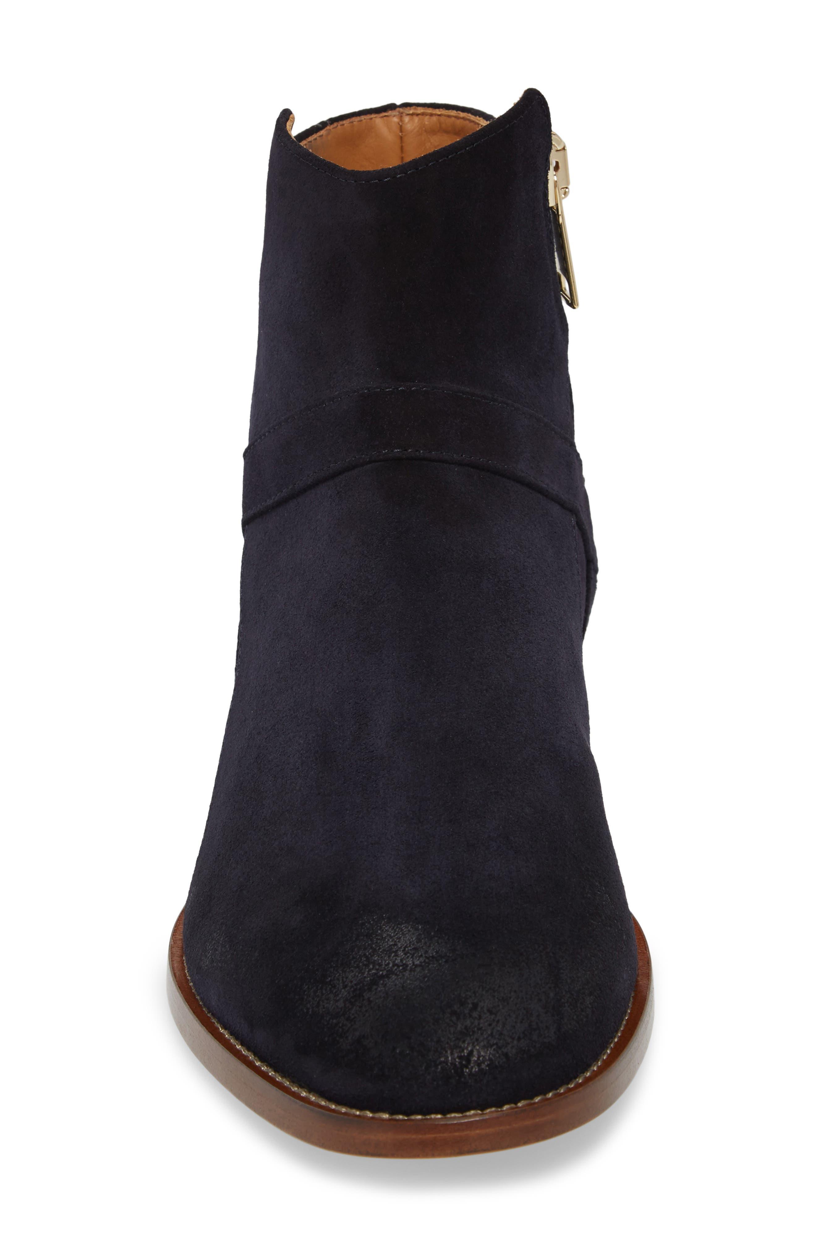 Bowie Zip Boot,                             Alternate thumbnail 4, color,                             Navy Suede