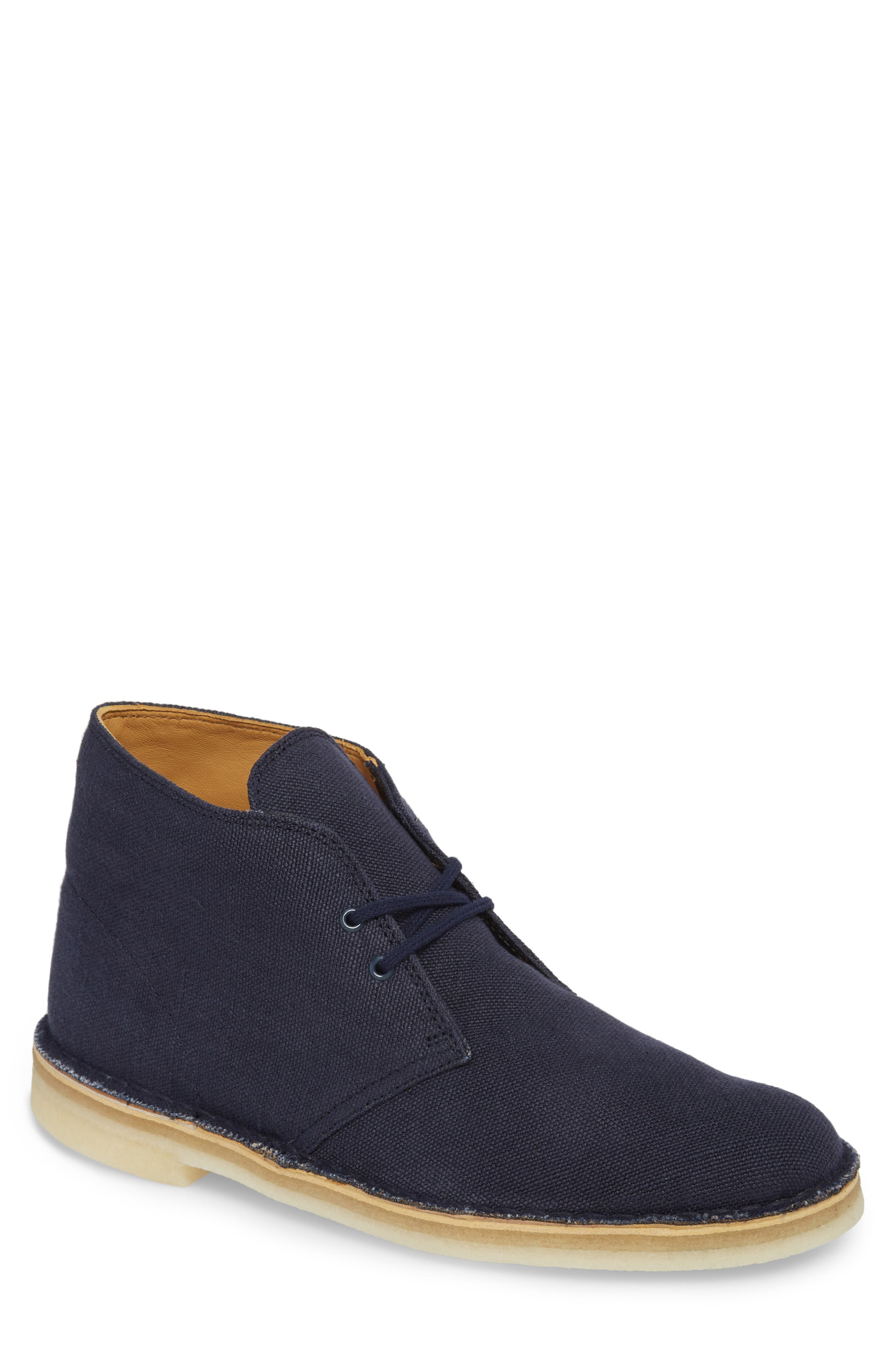 Clarks of England Desert Boot,                         Main,                         color, Navy Canvas