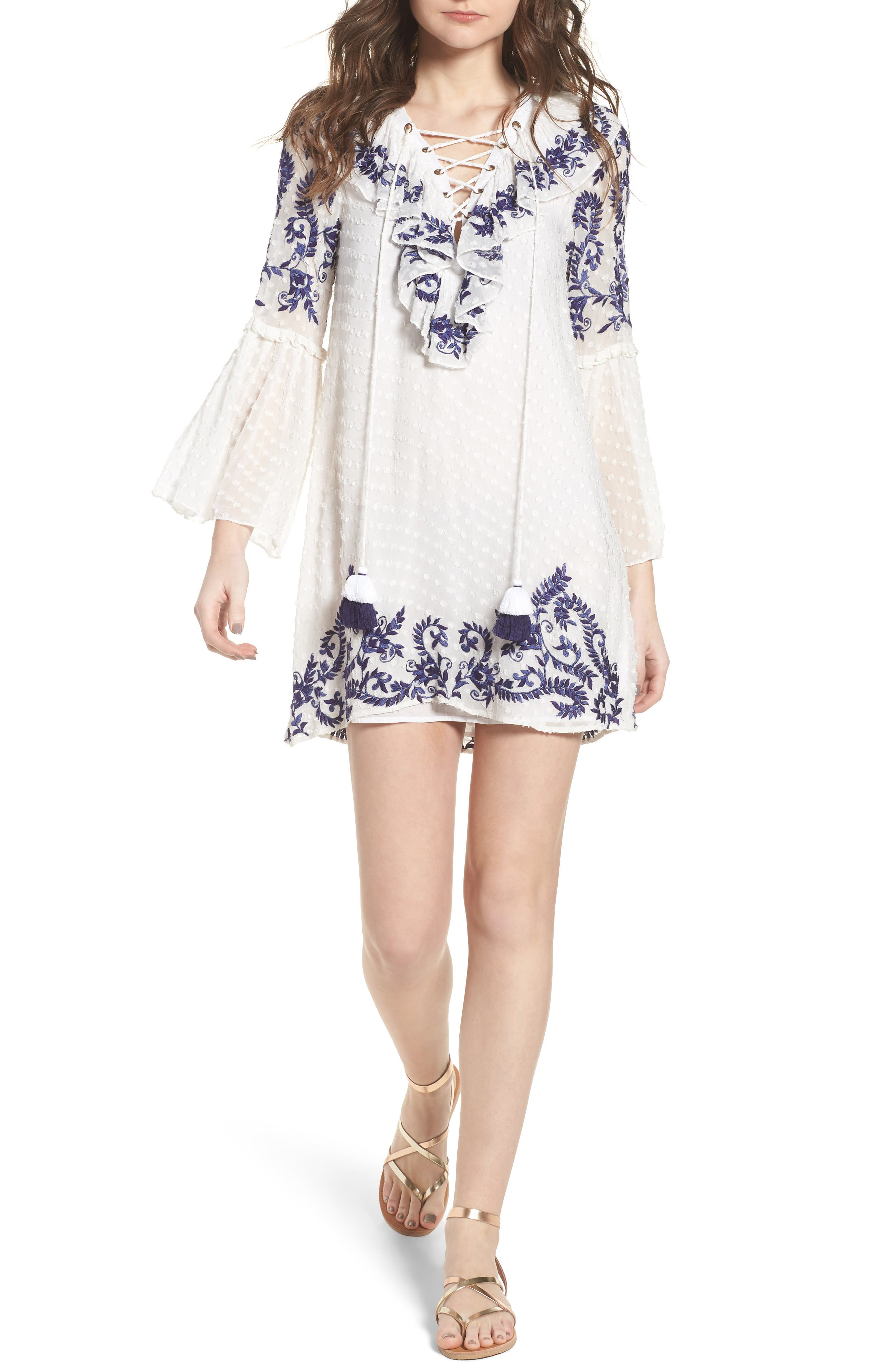 Cyrielle Embroidered Dress,                             Main thumbnail 1, color,                             White