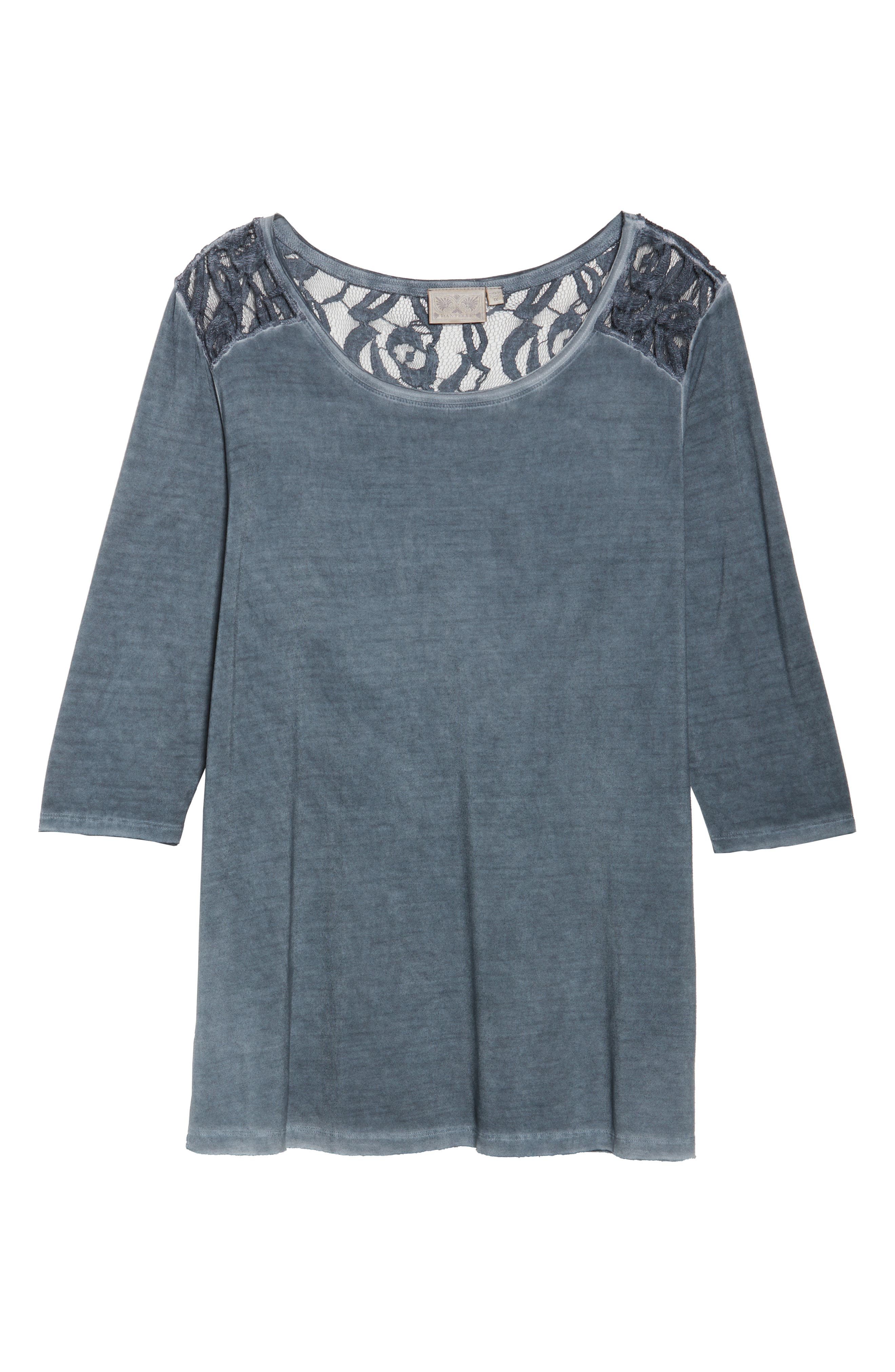 Lace Shoulder Oil-Dye Top,                             Alternate thumbnail 6, color,                             Misty Fog