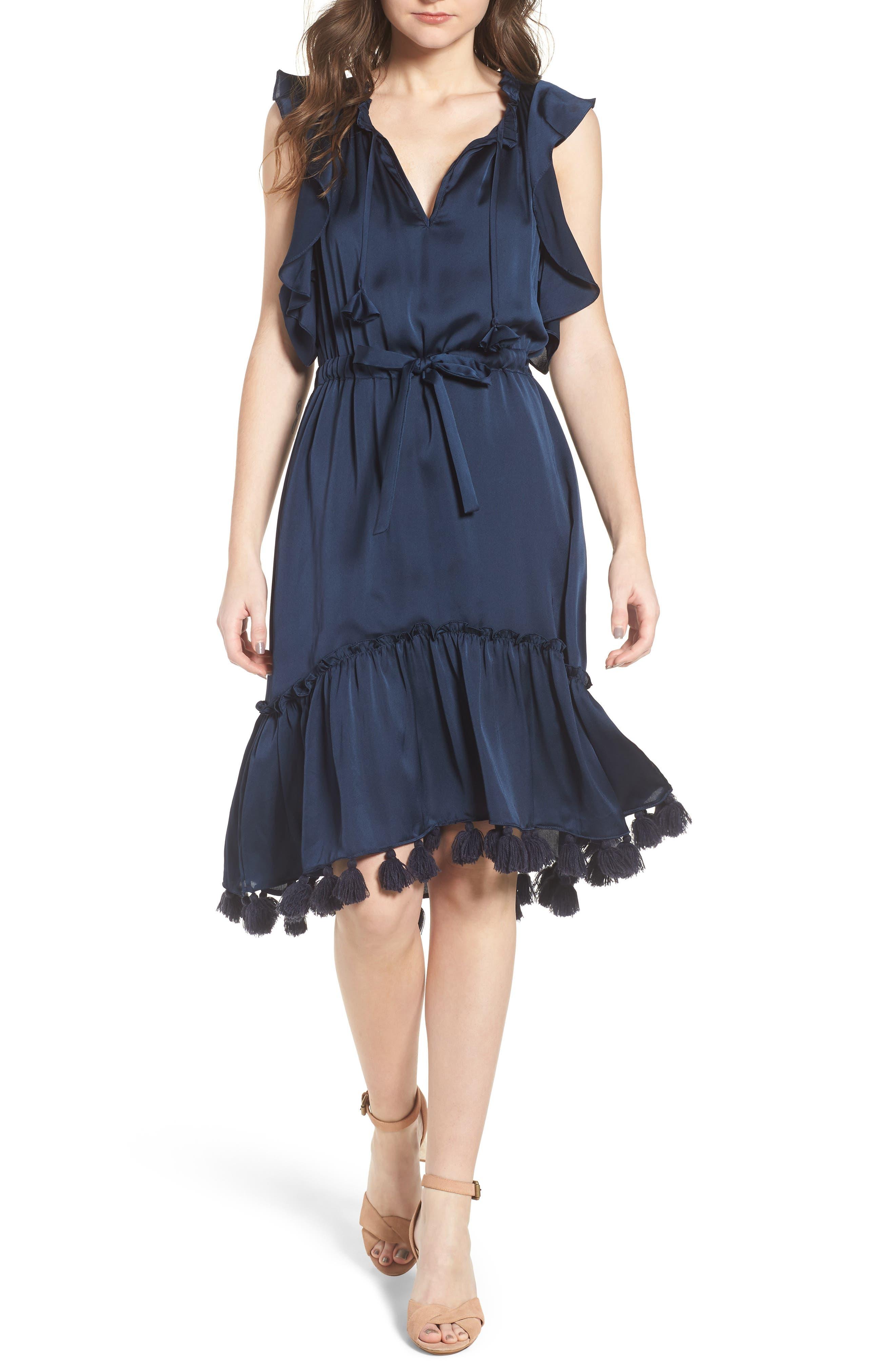 Pillar Satin Dress,                             Main thumbnail 1, color,                             Cobalt Blue