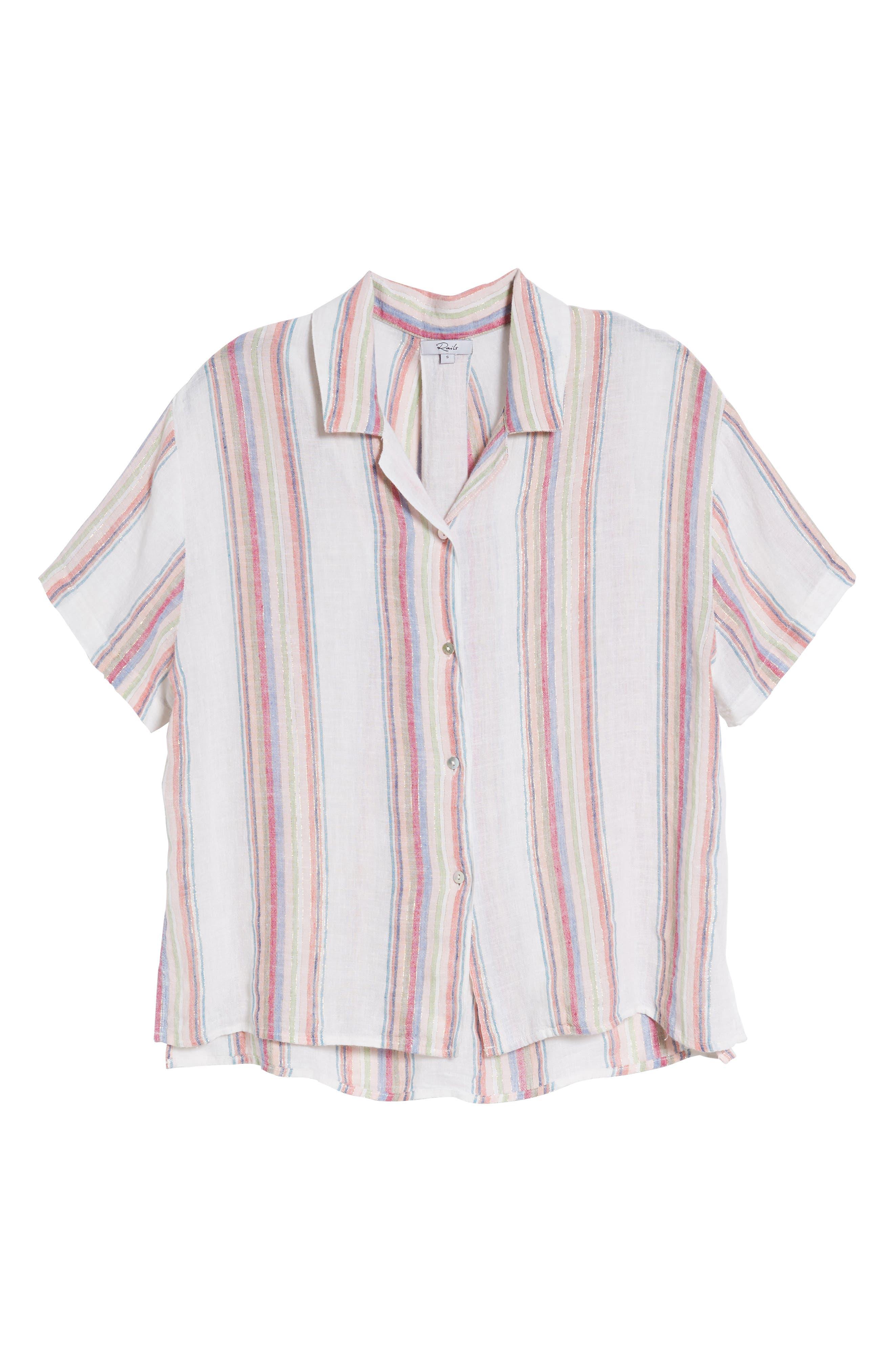 Zuma Stripe Linen Blend Top,                             Alternate thumbnail 7, color,                             Havana Stripe