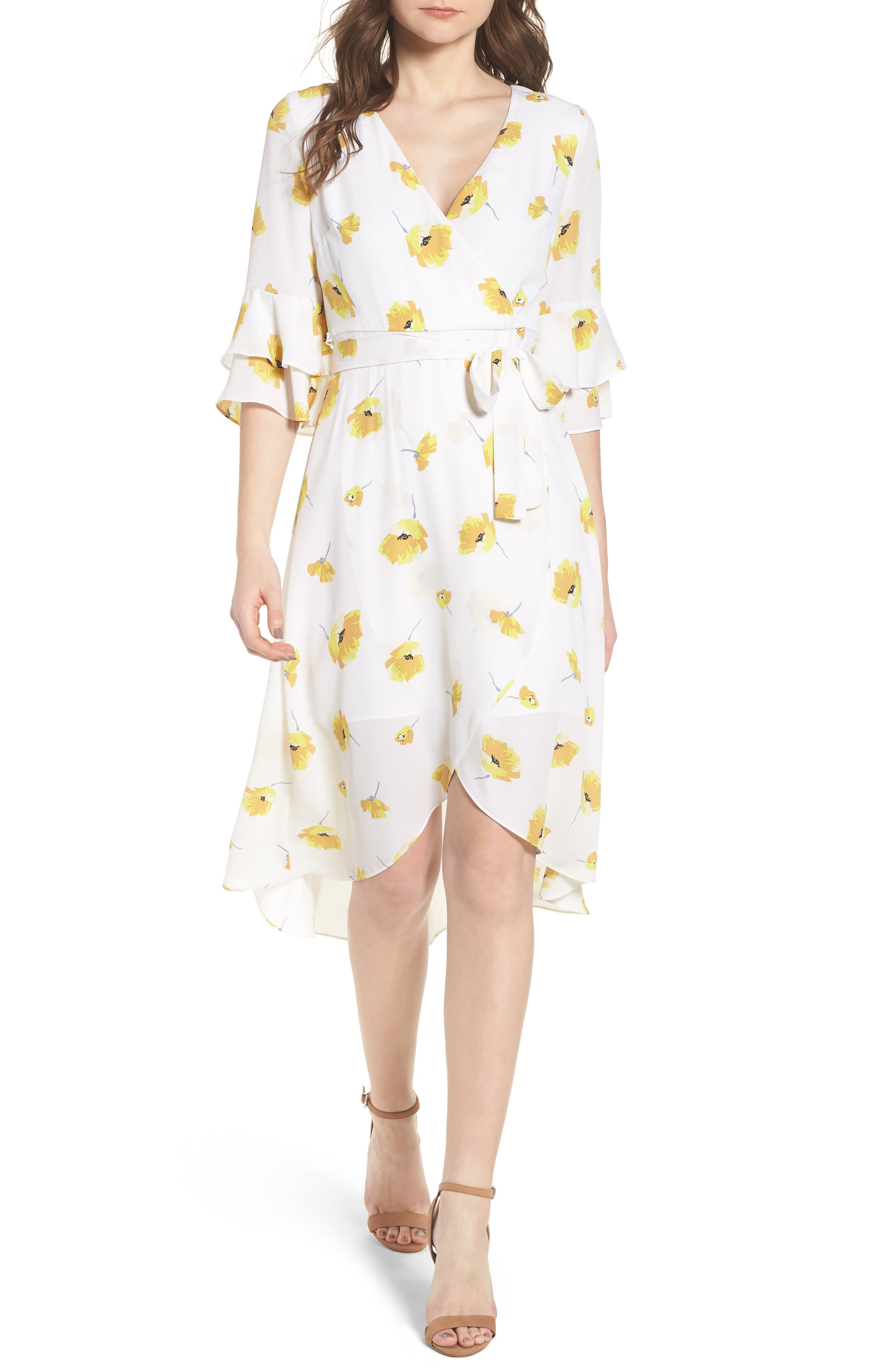 Floral Faux Wrap Dress,                         Main,                         color, Ivory Gold Floral Print