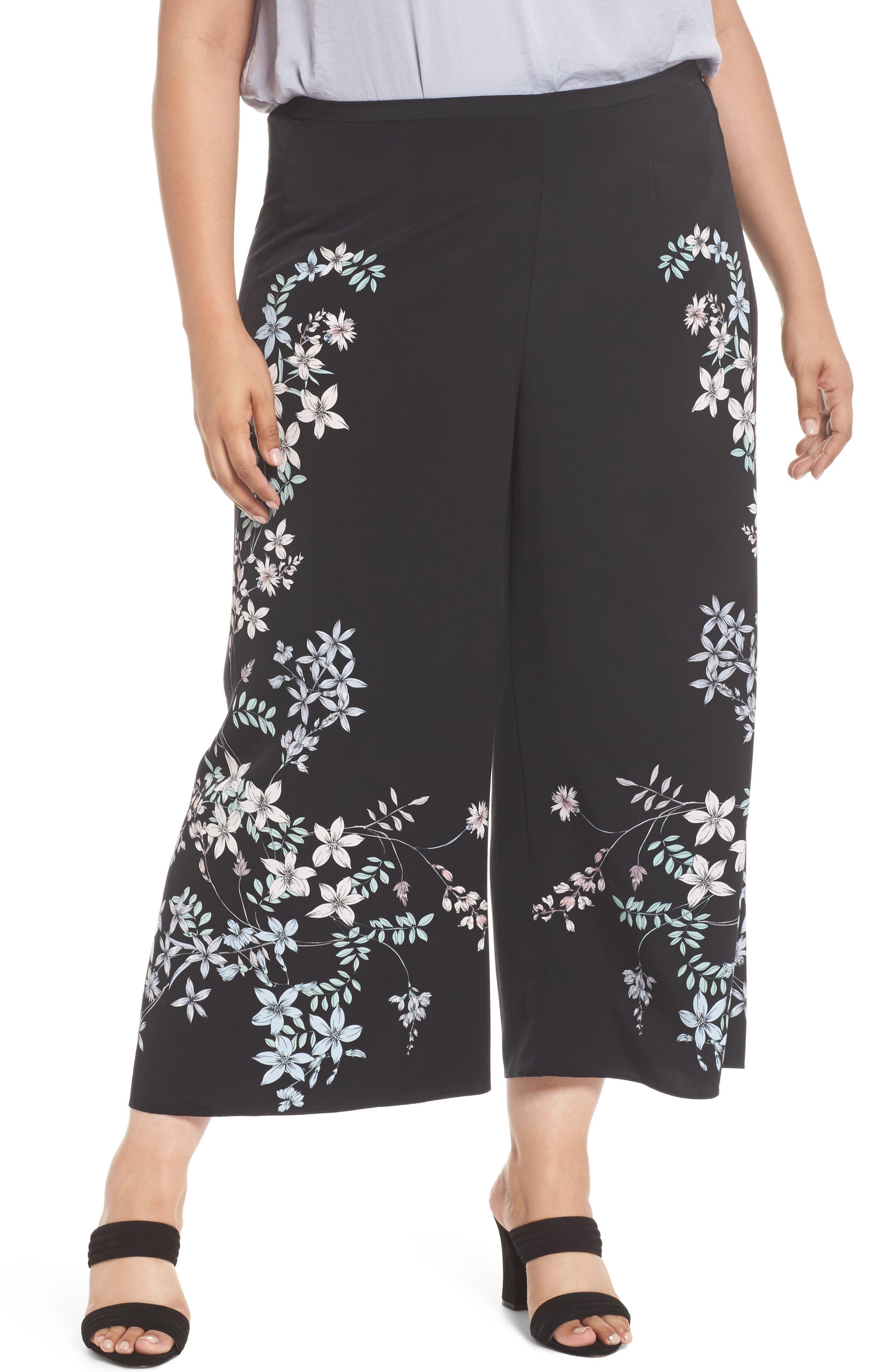 Botanical Wide Leg Pants,                         Main,                         color, Rich Black