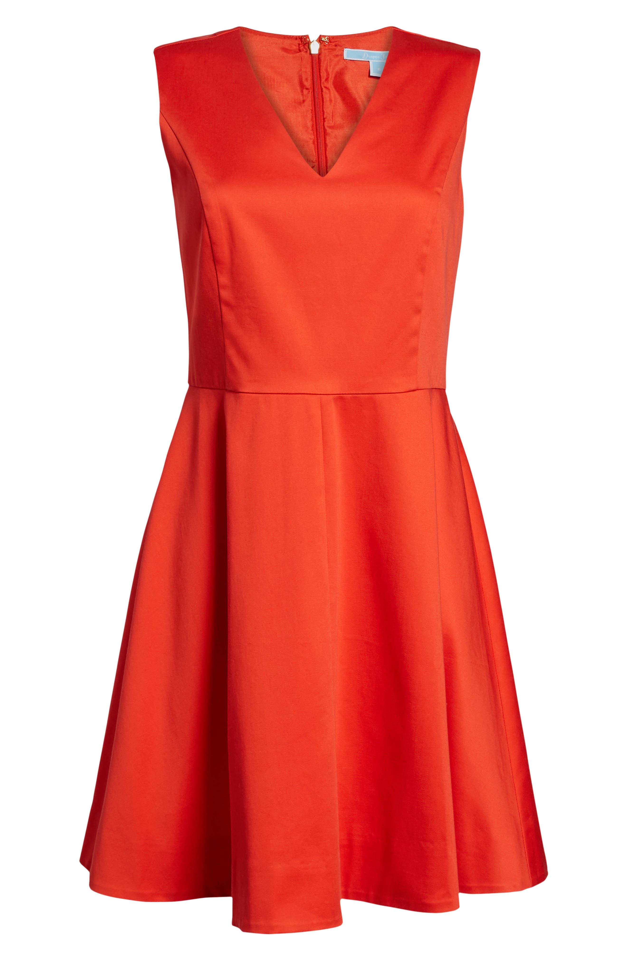 Love Circle V-Neck Dress,                             Alternate thumbnail 6, color,                             Red