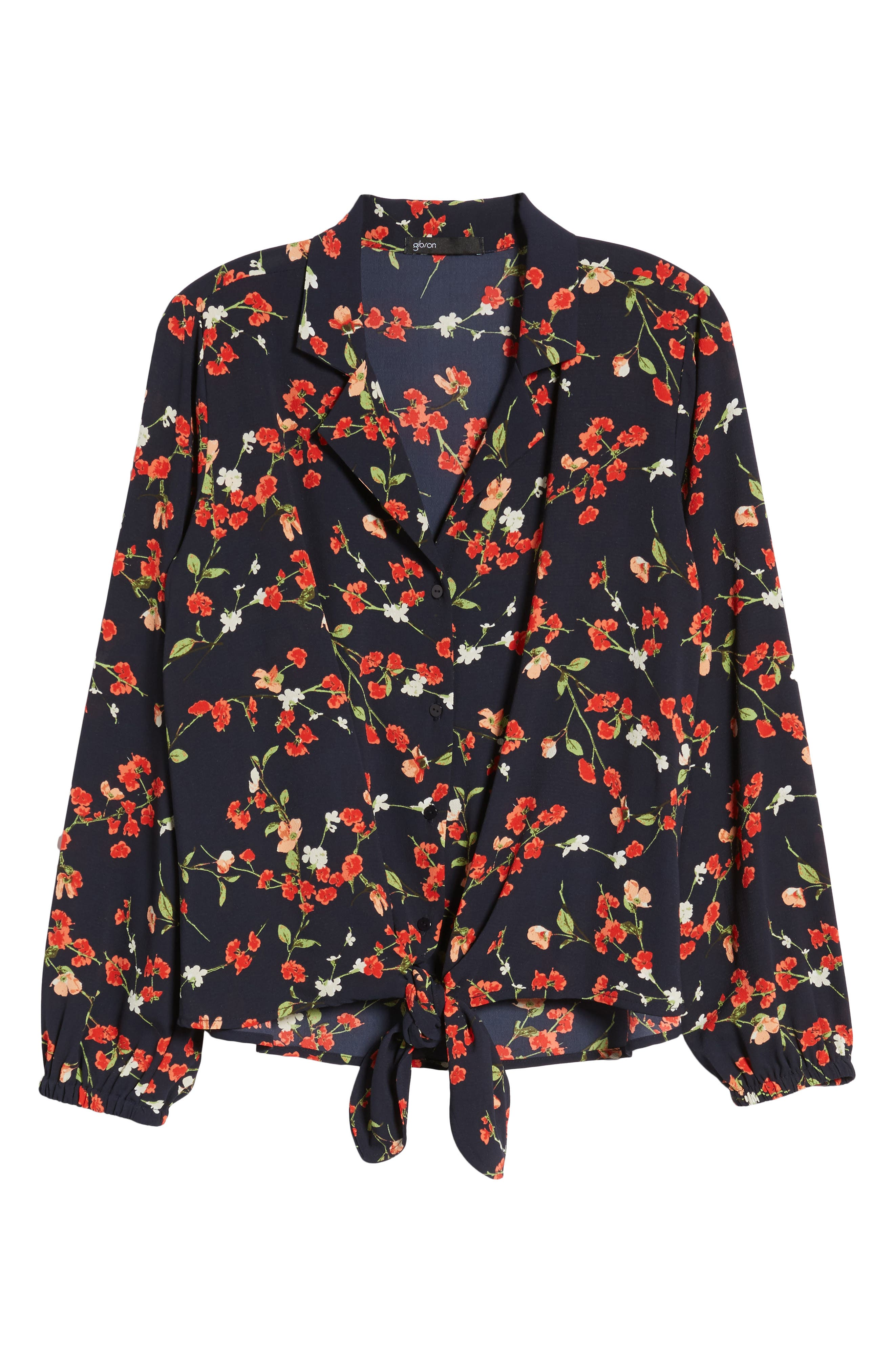 Relaxed Tie Front Top,                             Alternate thumbnail 7, color,                             Black Print With Red Flowers