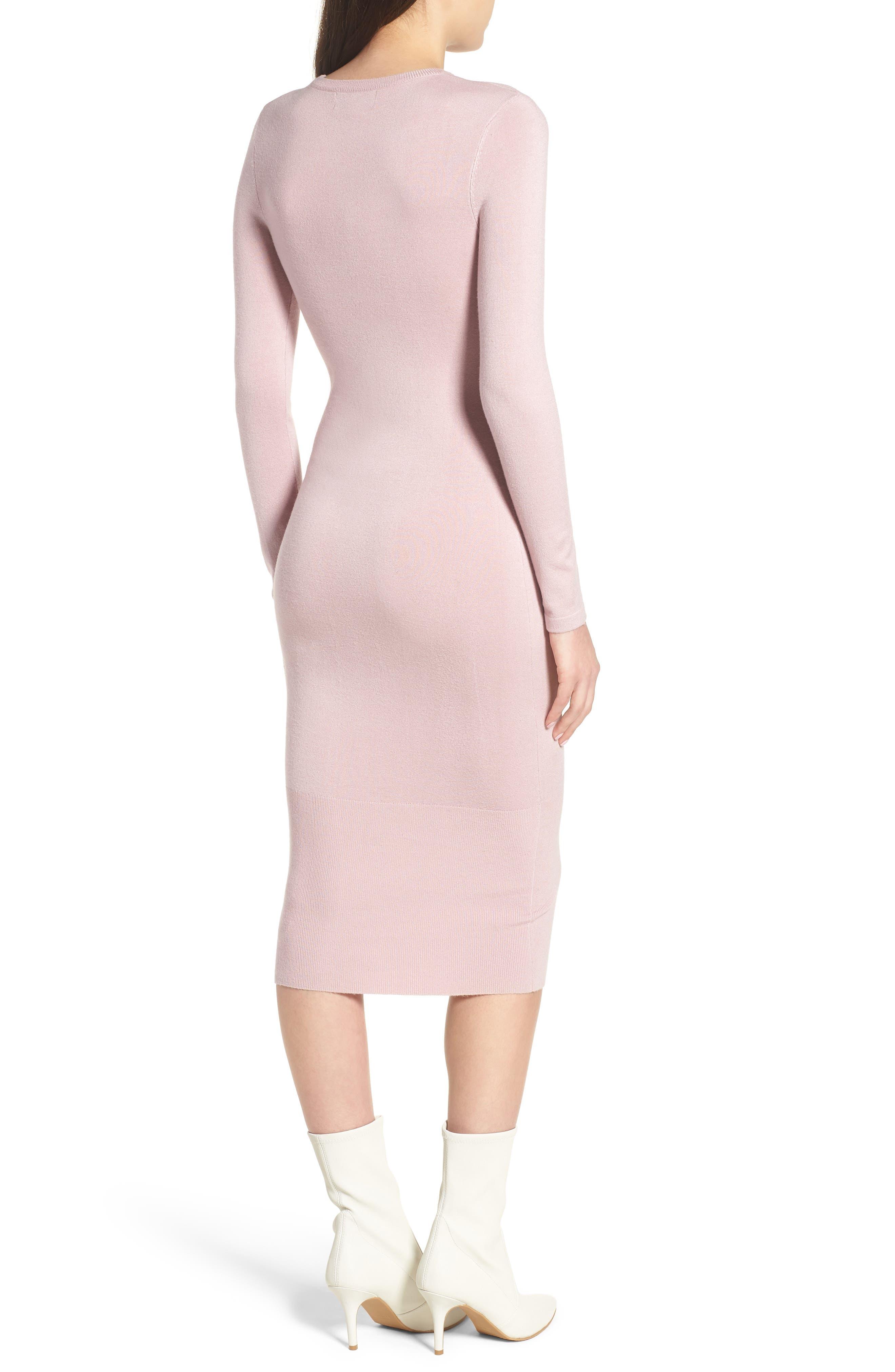 Body-Con Midi Dress,                             Alternate thumbnail 2, color,                             Light Pink