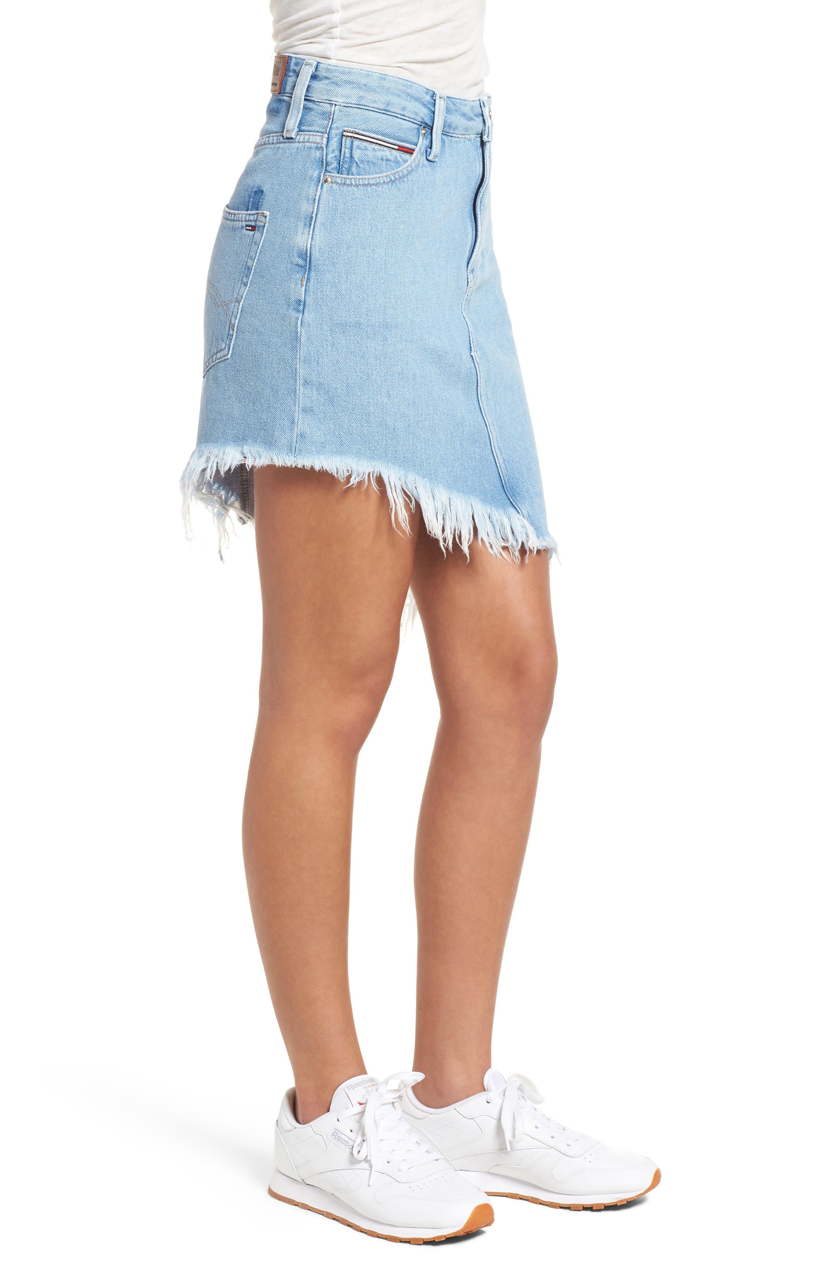 Asymmetrical Denim Skirt,                             Alternate thumbnail 3, color,                             Raw Destructed Blue Rigid