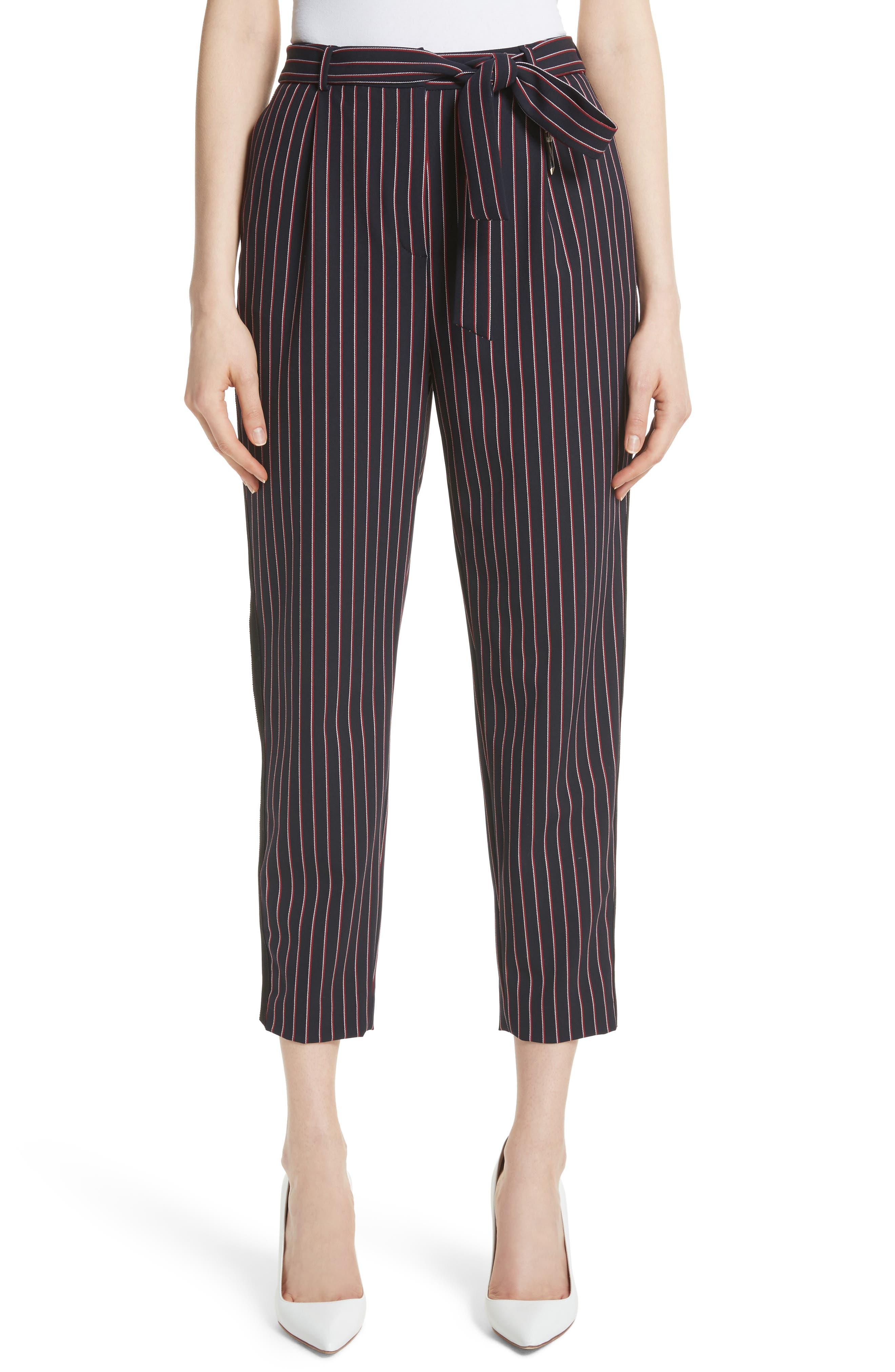 Colour by Numbers Belted Stripe Crop Pants,                         Main,                         color, Navy