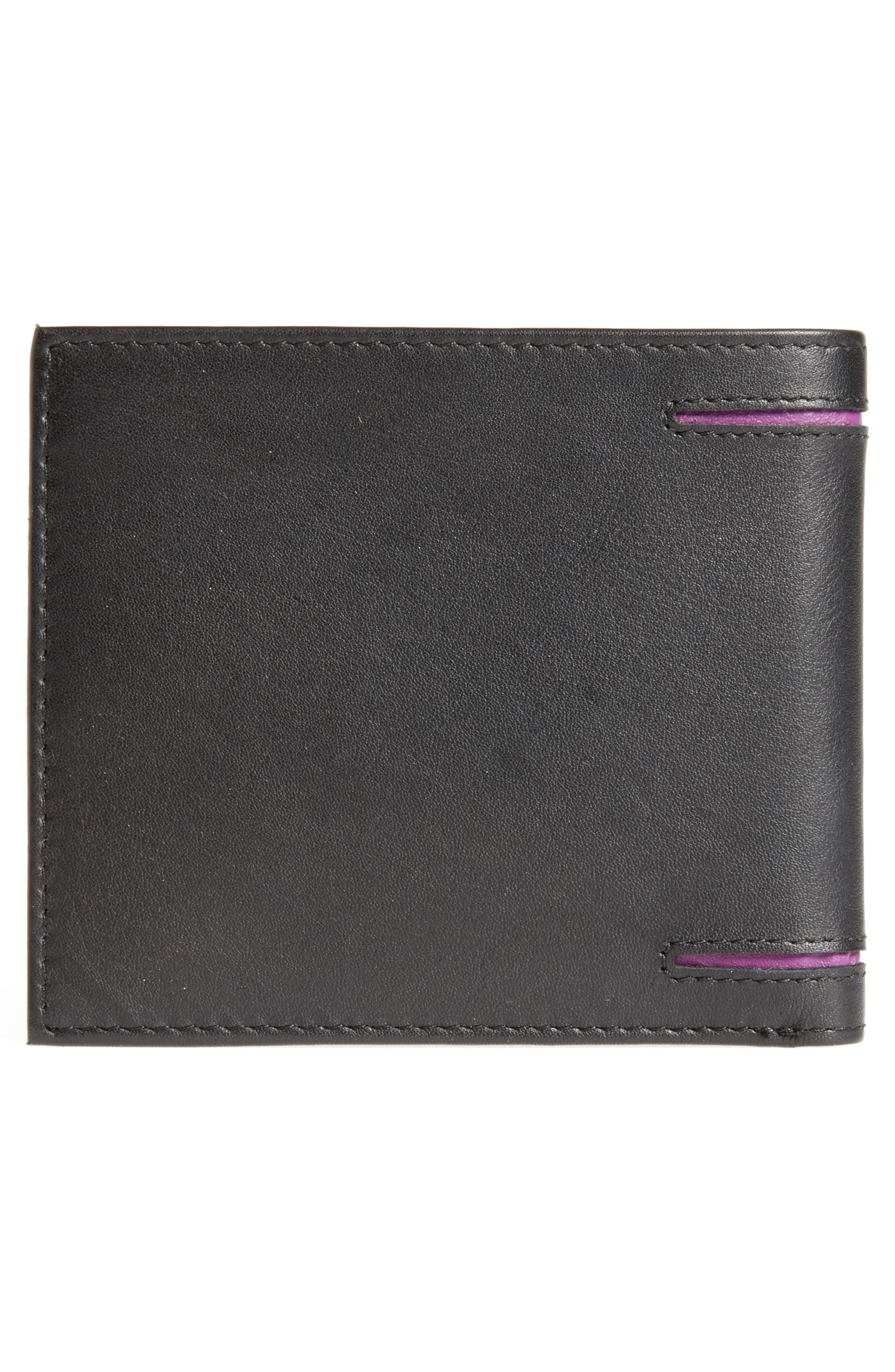 Figgy Inset Spine Leather Wallet,                             Alternate thumbnail 3, color,                             Black