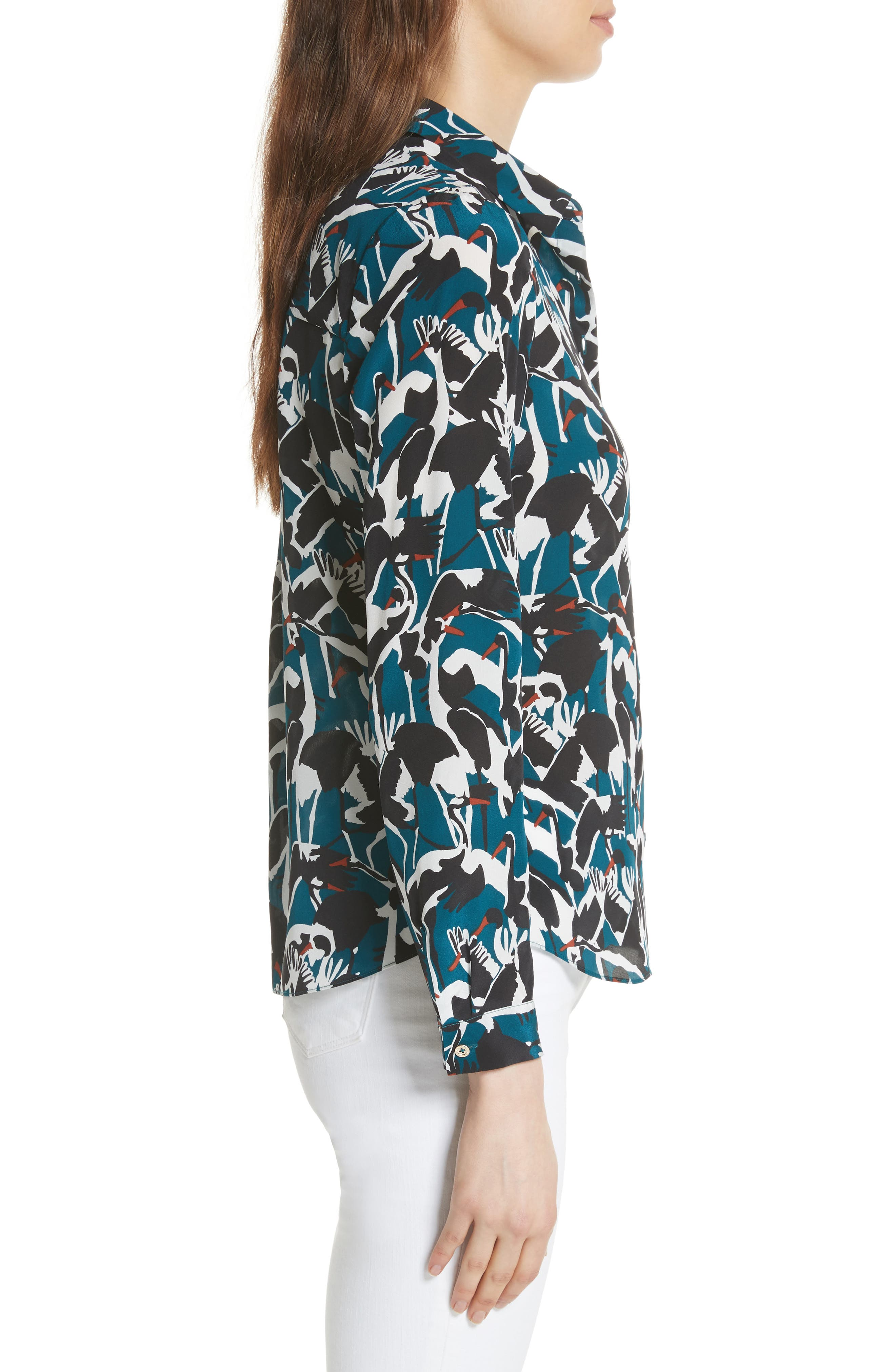 Colour by Numbers Crane Print Silk Shirt,                             Alternate thumbnail 3, color,                             Teal
