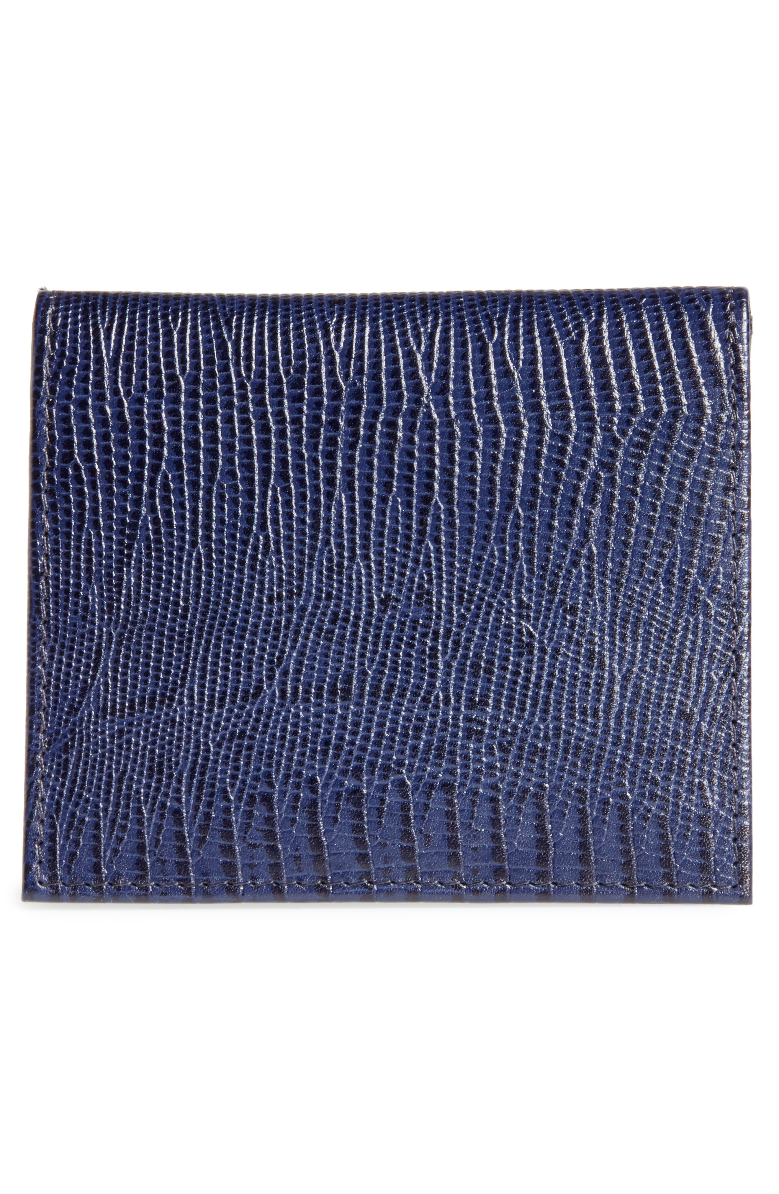 Liztay Lizard Embossed Leather Foldover Card Case,                             Alternate thumbnail 3, color,                             Navy
