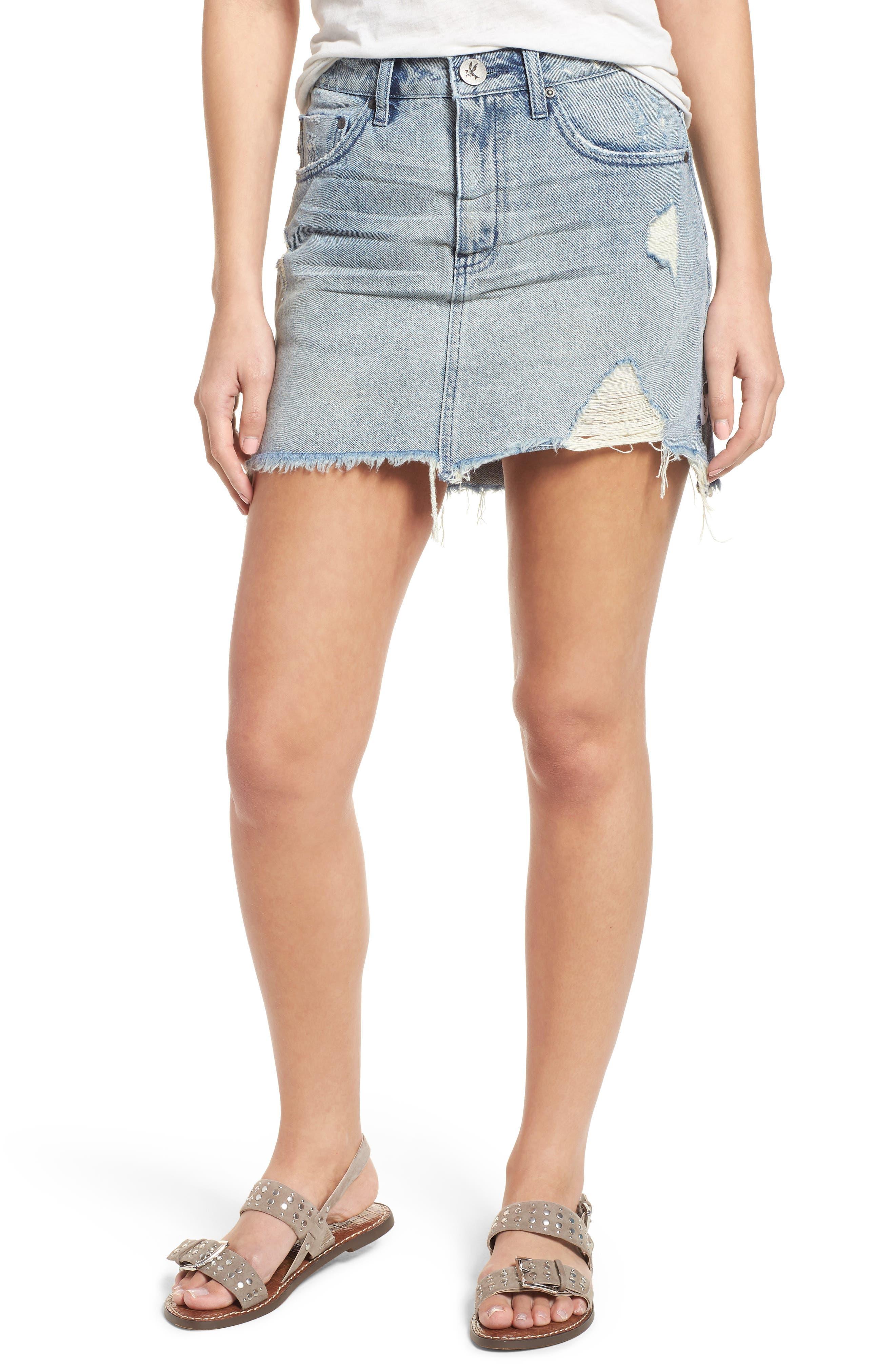 One Teaspoon Distressed Denim Miniskirt (Blue Storm)
