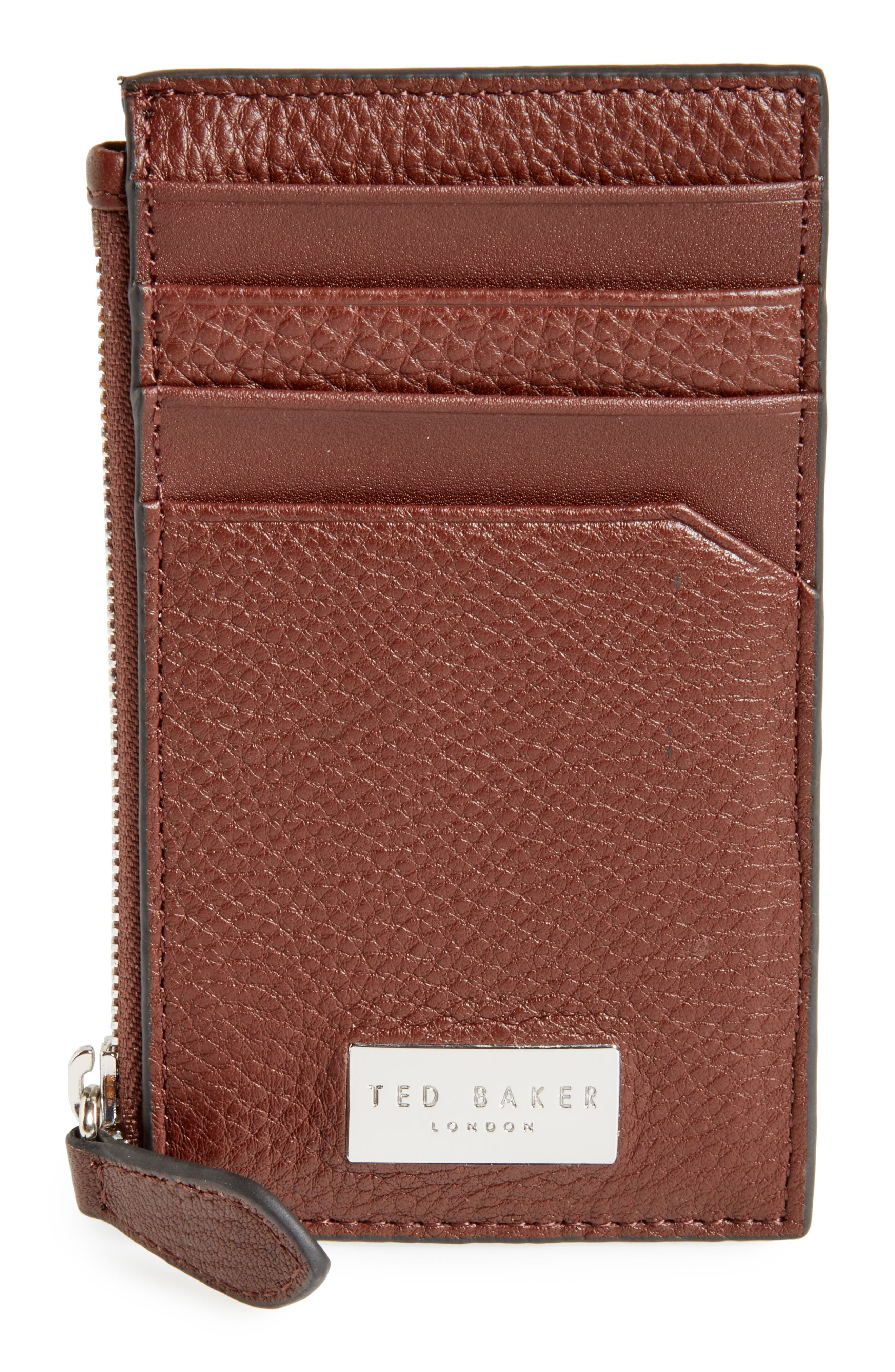 Snapps Core Leather Zip Card Case,                         Main,                         color, Tan