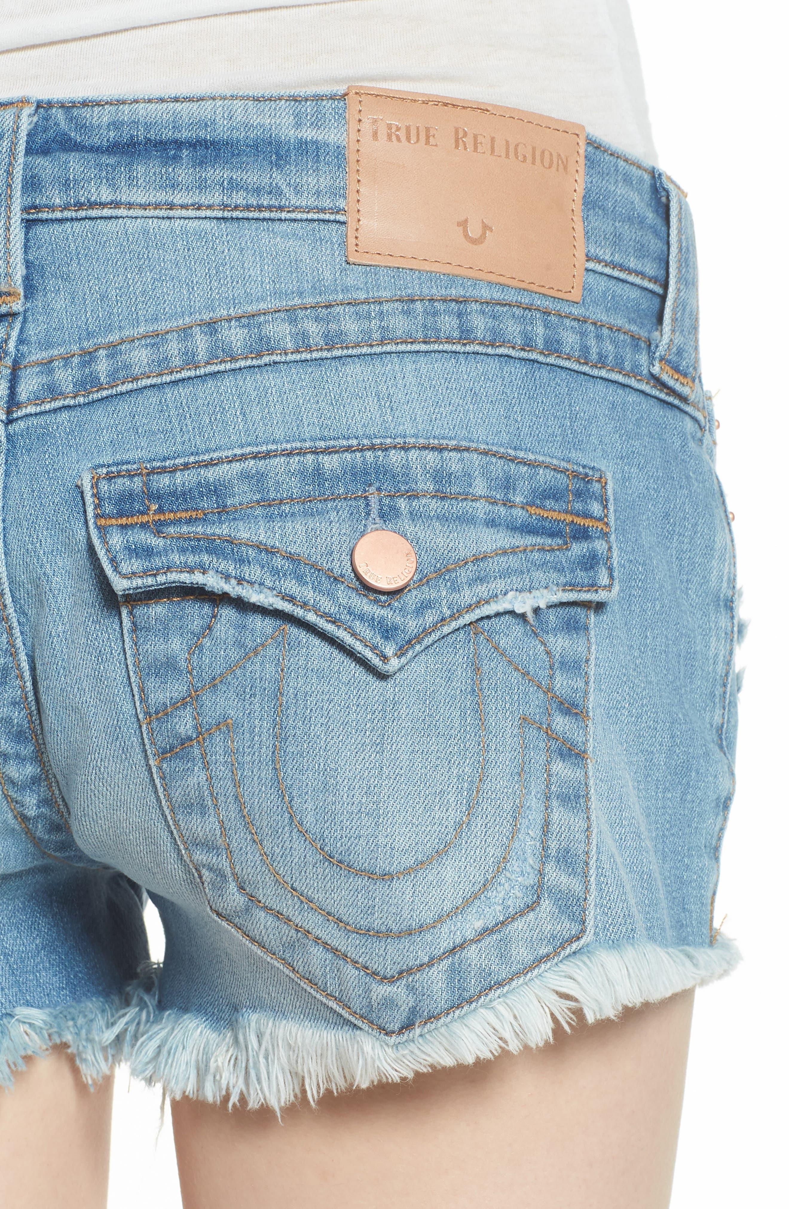 Joey Flap Pocket Cutoff Denim Shorts,                             Alternate thumbnail 4, color,                             Eshl Third Quarter