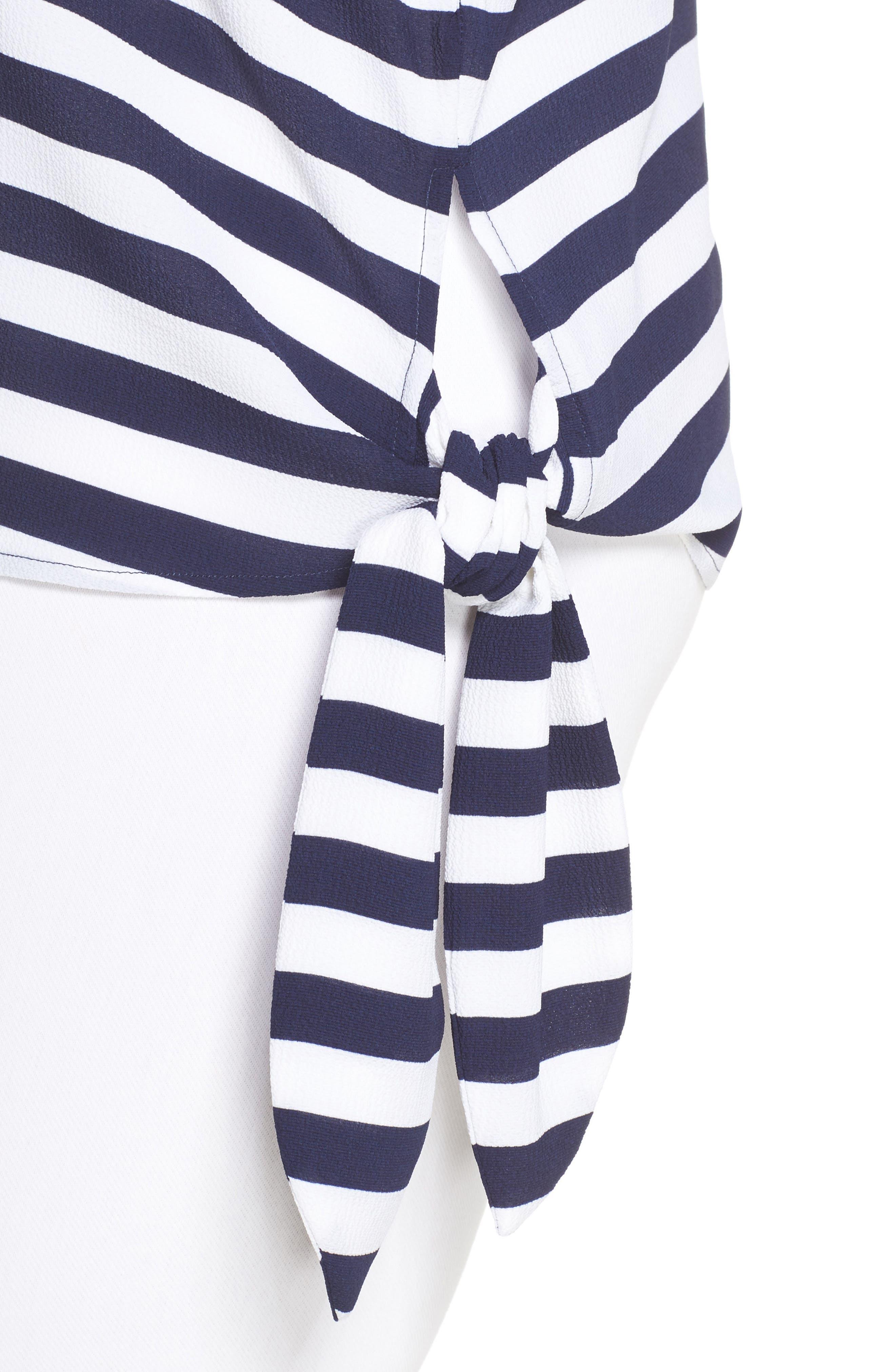 Stripe Side Tie Top,                             Alternate thumbnail 4, color,                             True Navy
