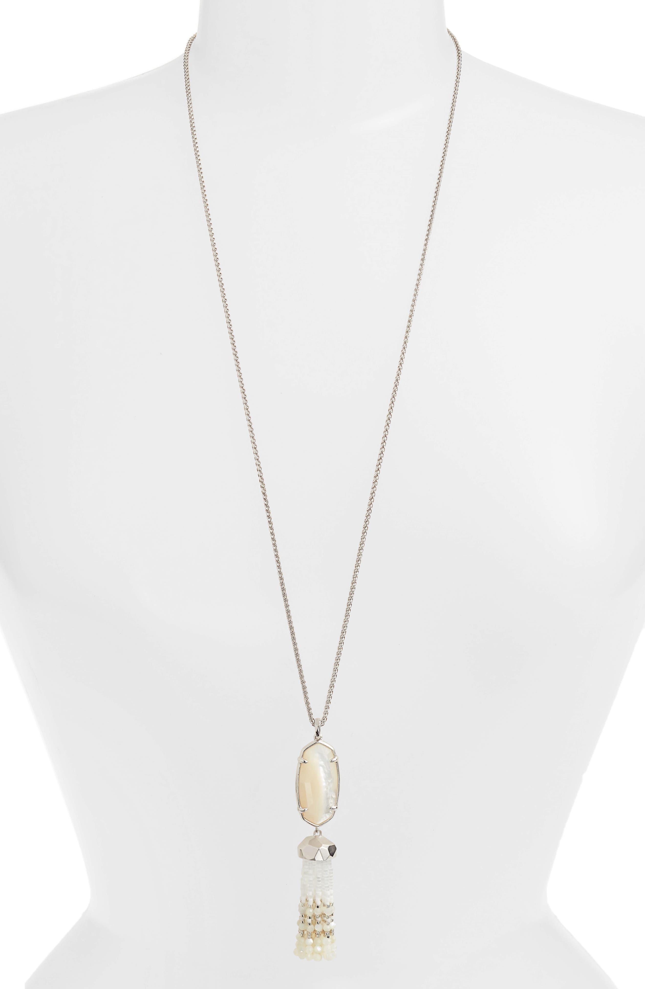 Eva Tassel Pendant Necklace,                         Main,                         color, Ivory Mop/ Silver