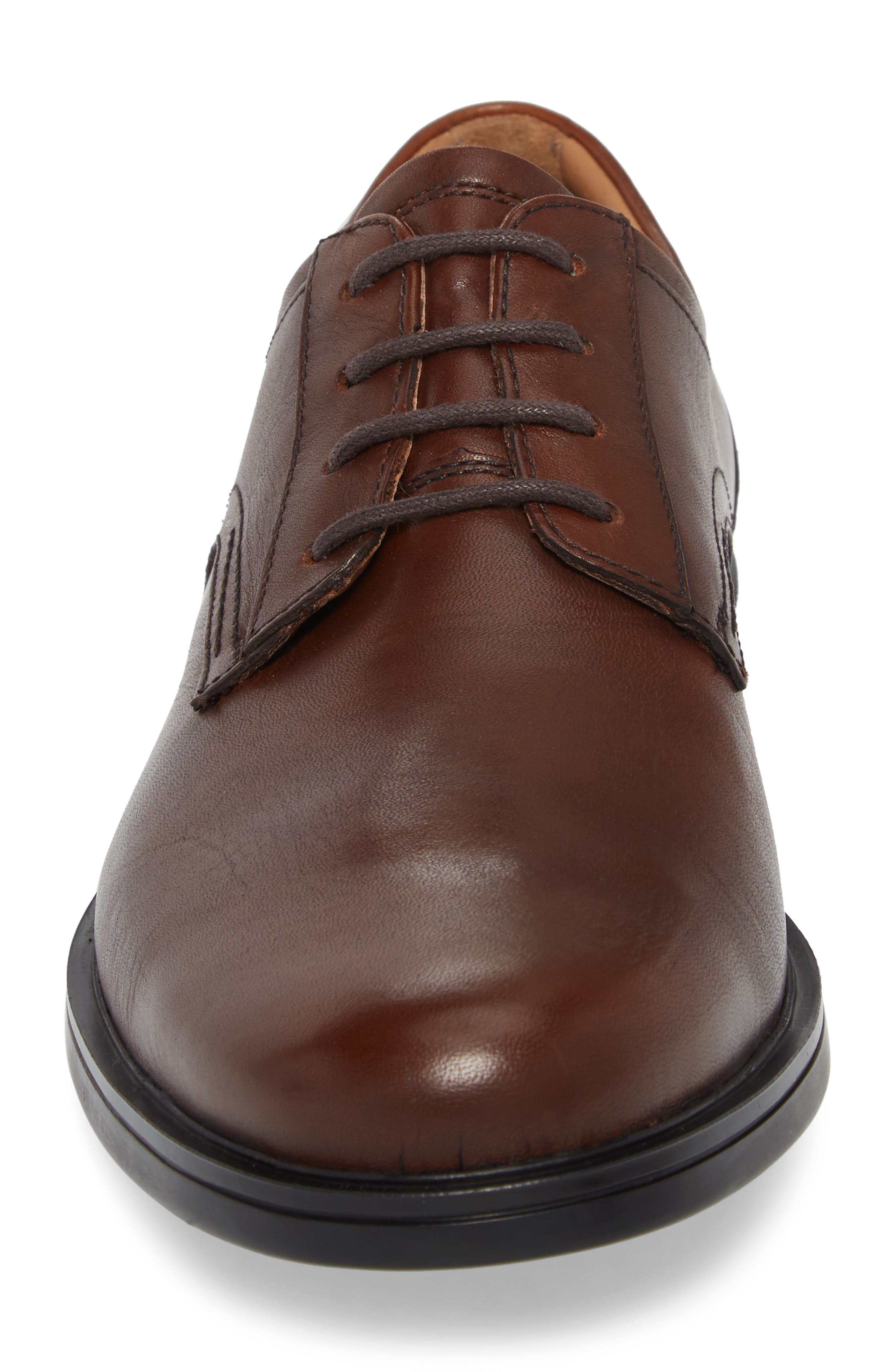 Unaldric Plain Toe Derby,                             Alternate thumbnail 4, color,                             Dark Tan Leather