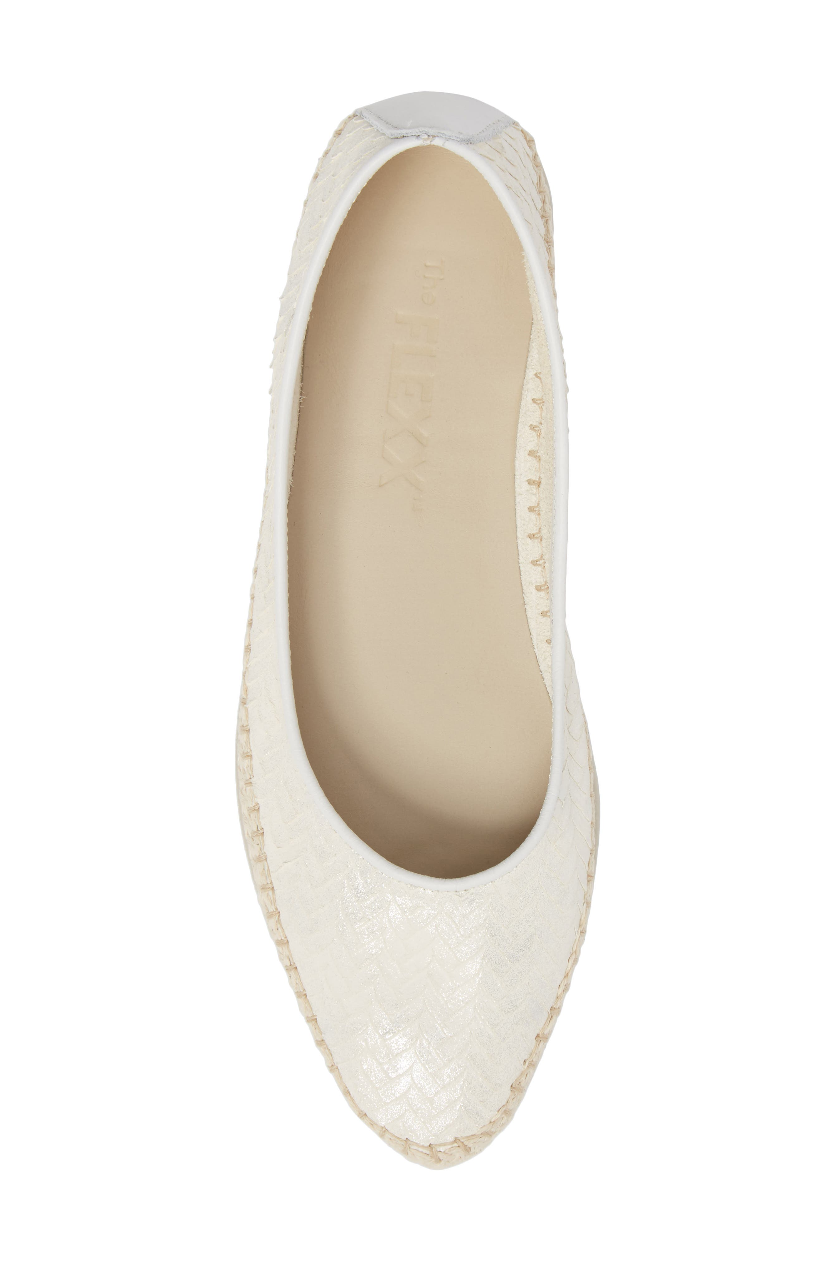 'Torri' Perforated Espadrille Flat,                             Alternate thumbnail 4, color,                             Pearl Leather