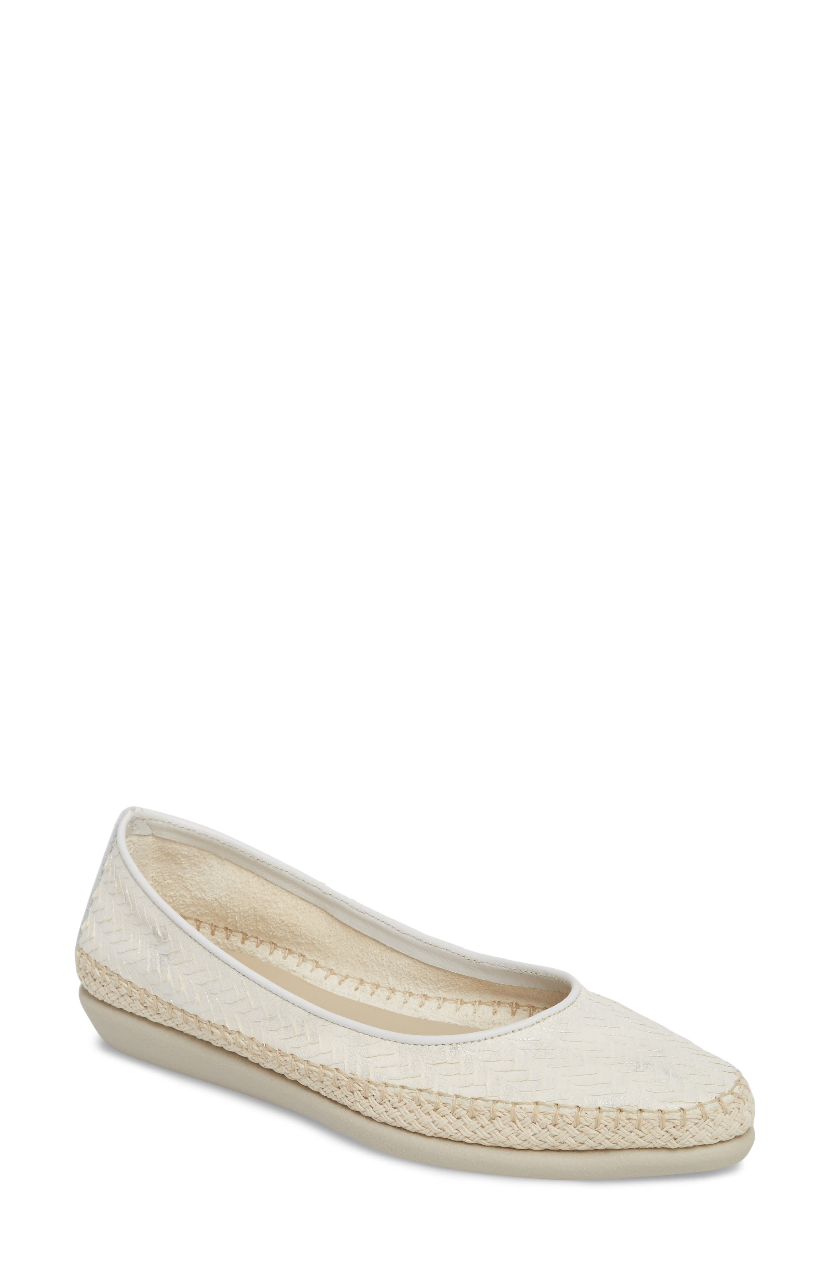 'Torri' Perforated Espadrille Flat,                             Main thumbnail 1, color,                             Pearl Leather