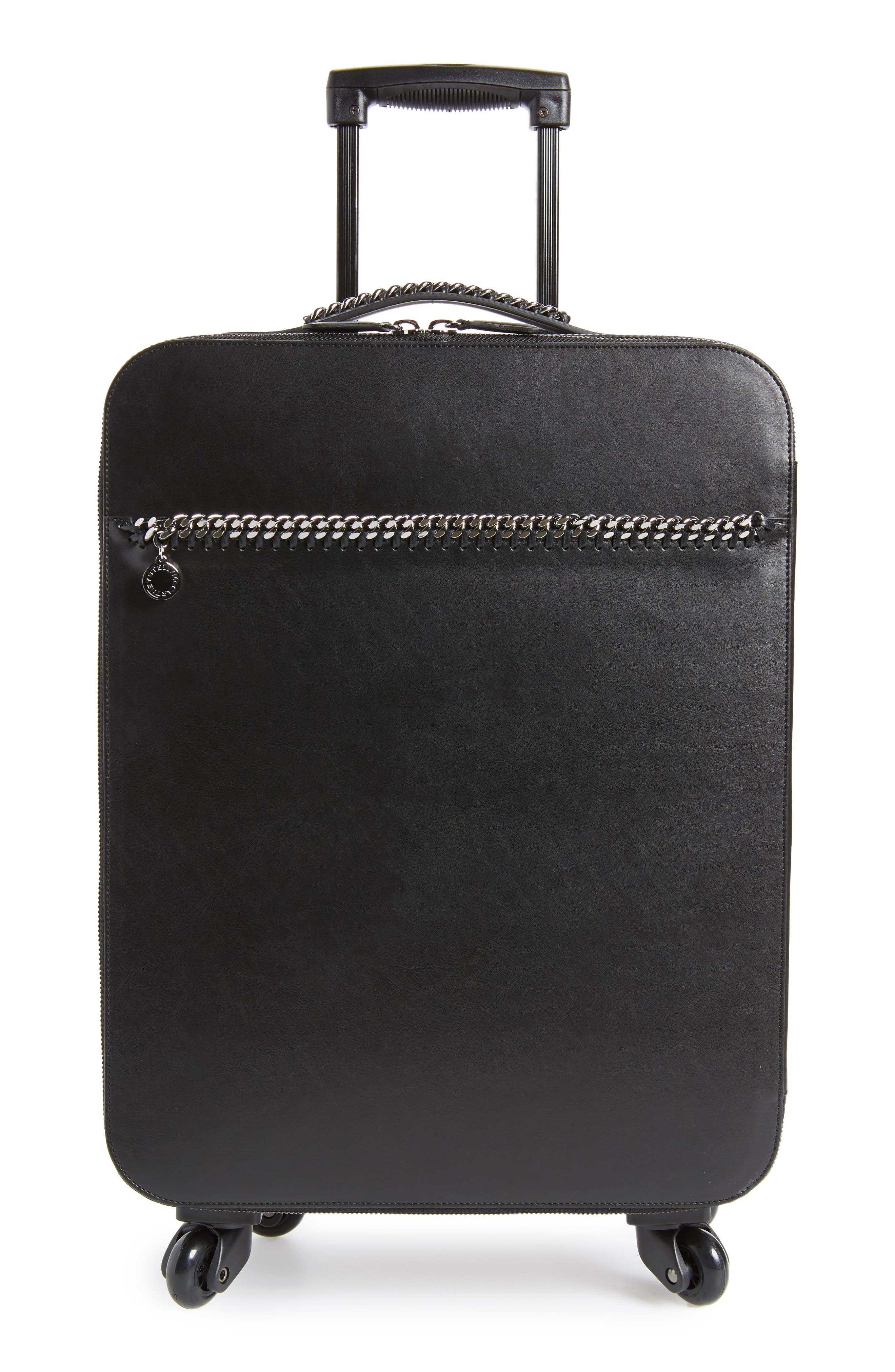 Falabella Faux Leather Spinner Suitcase,                         Main,                         color, Black/ Black