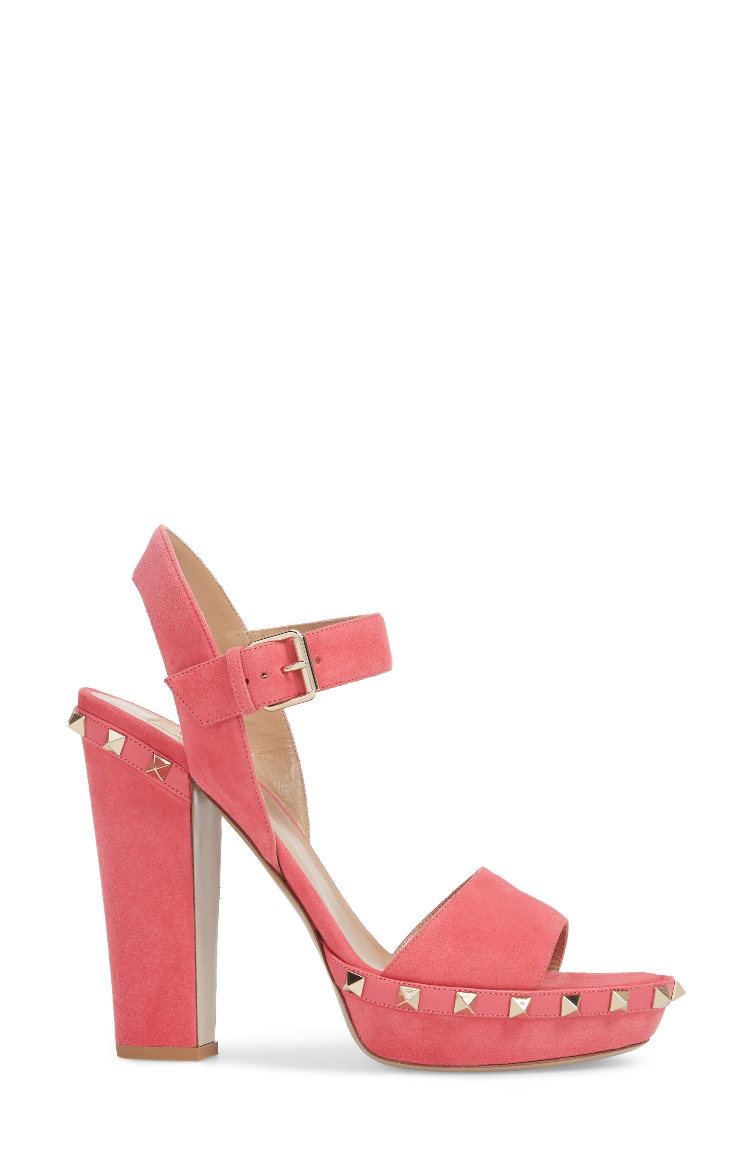 Rockstud Platform Sandal,                             Alternate thumbnail 3, color,                             Shadow Pink