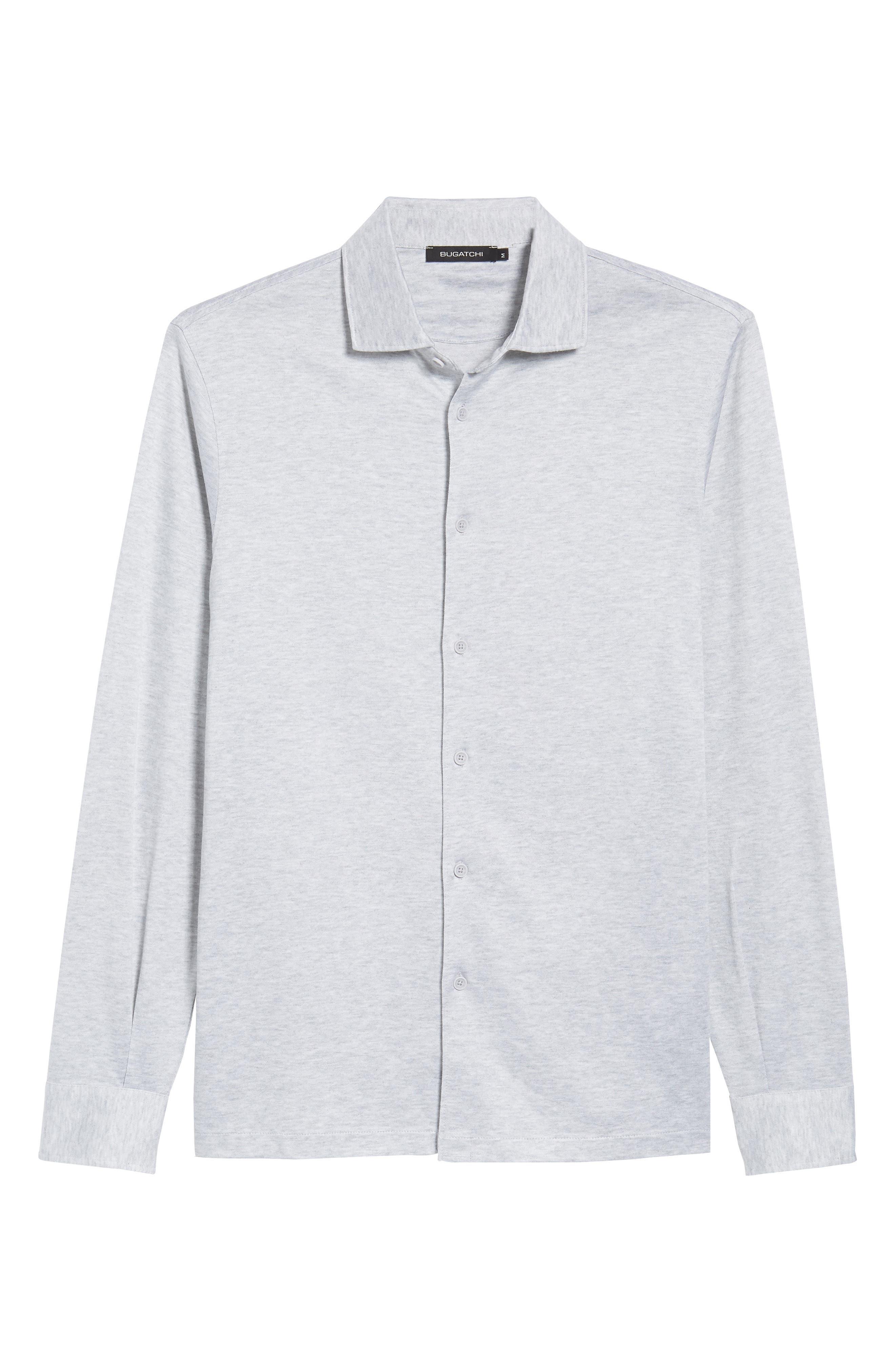 Regular Fit Silk Blend Sport Shirt,                             Alternate thumbnail 6, color,                             Platinum