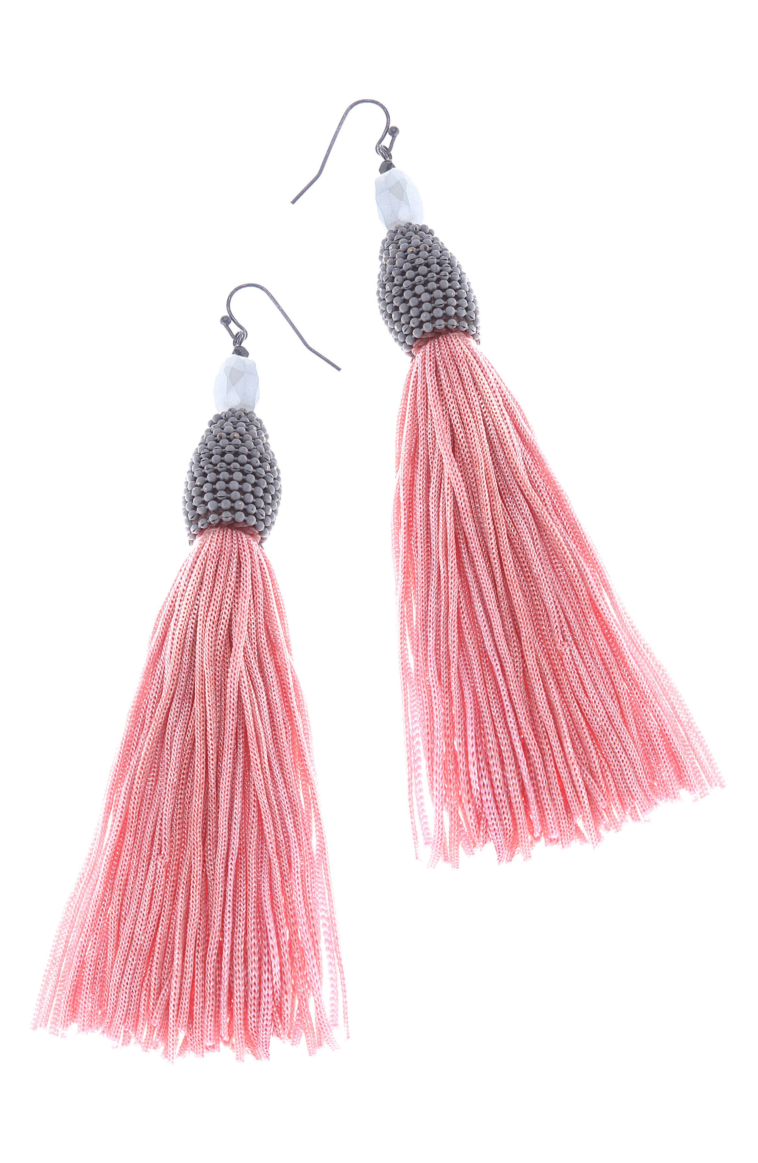 Tassel Earrings,                         Main,                         color, Pink