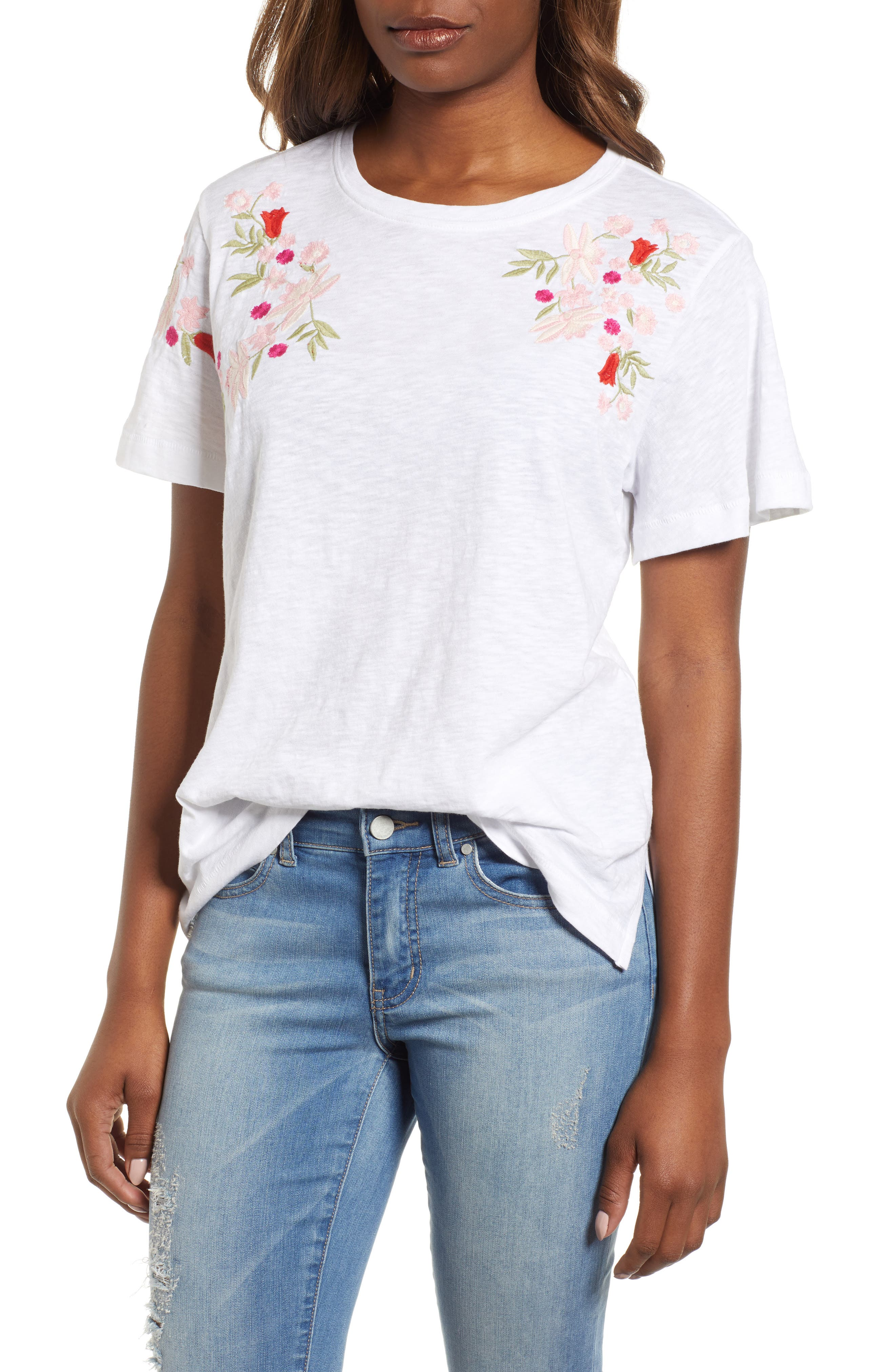Embroidered Tee,                             Main thumbnail 1, color,                             White- Red Lucille
