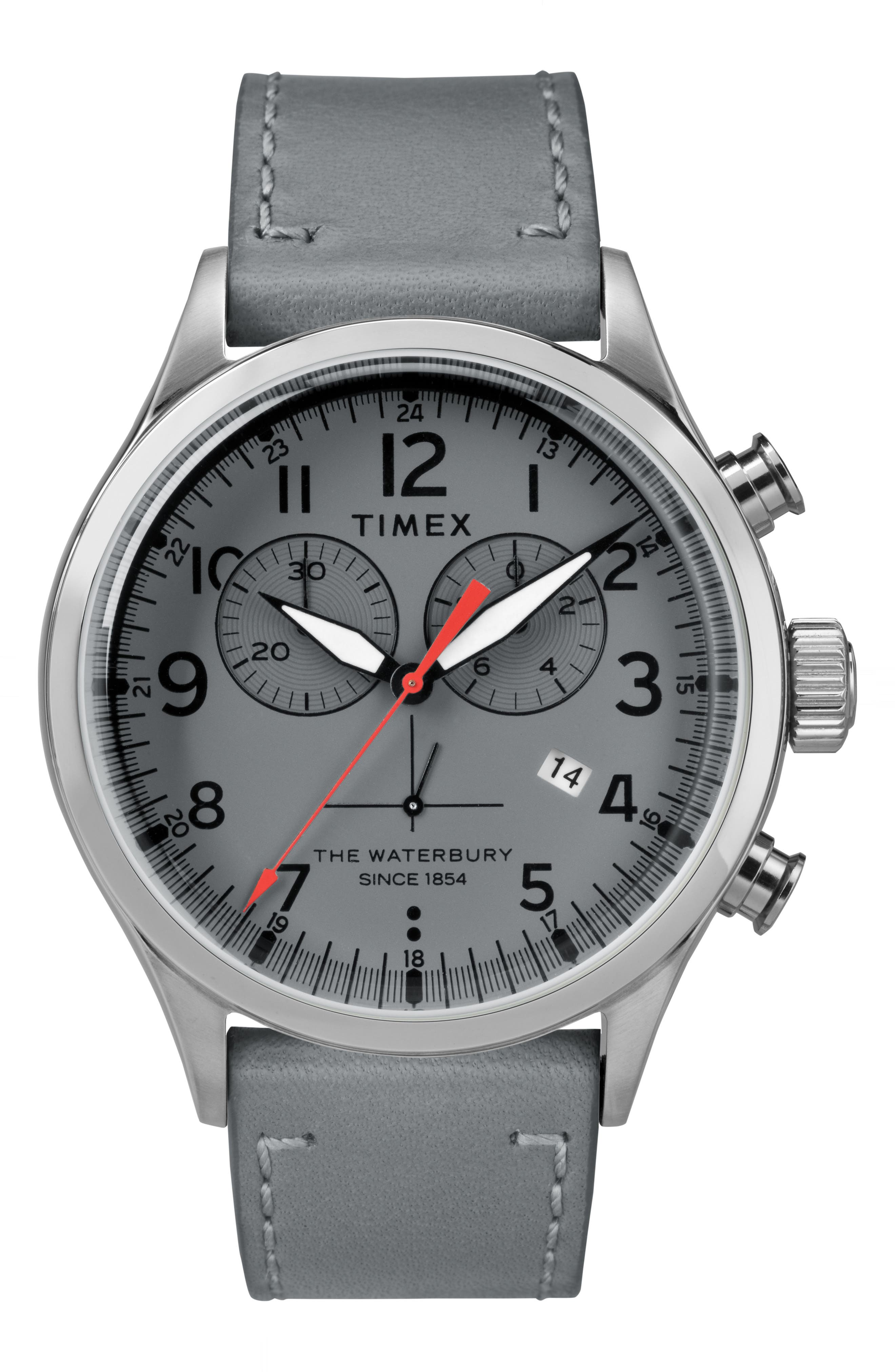 Timex Waterbury Chronograph Leather Strap Watch, 42mm,                         Main,                         color, Grey/ Silver