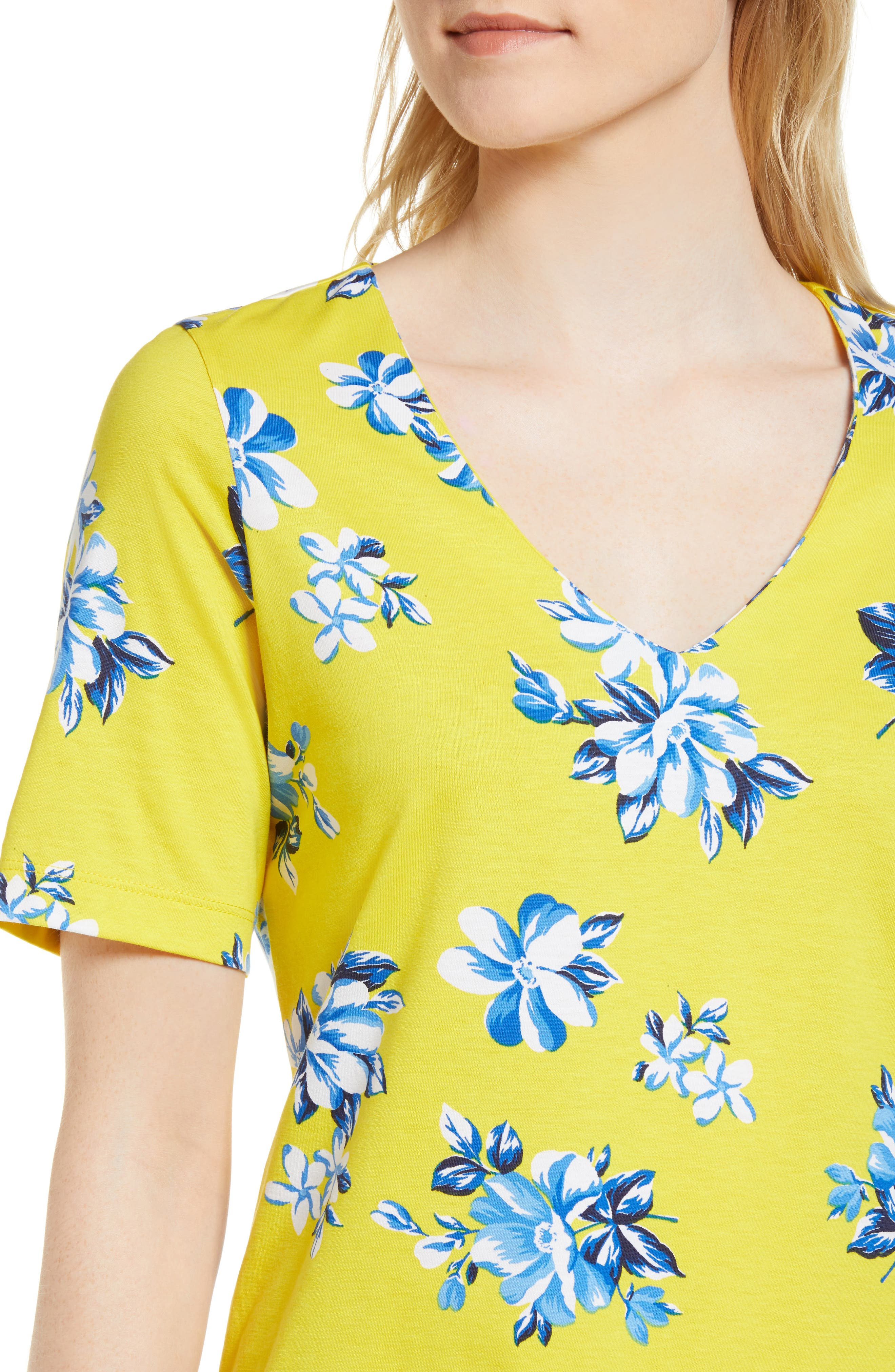 Floral Hillsboro Pima Cotton Shift Dress,                             Alternate thumbnail 4, color,                             Yellow