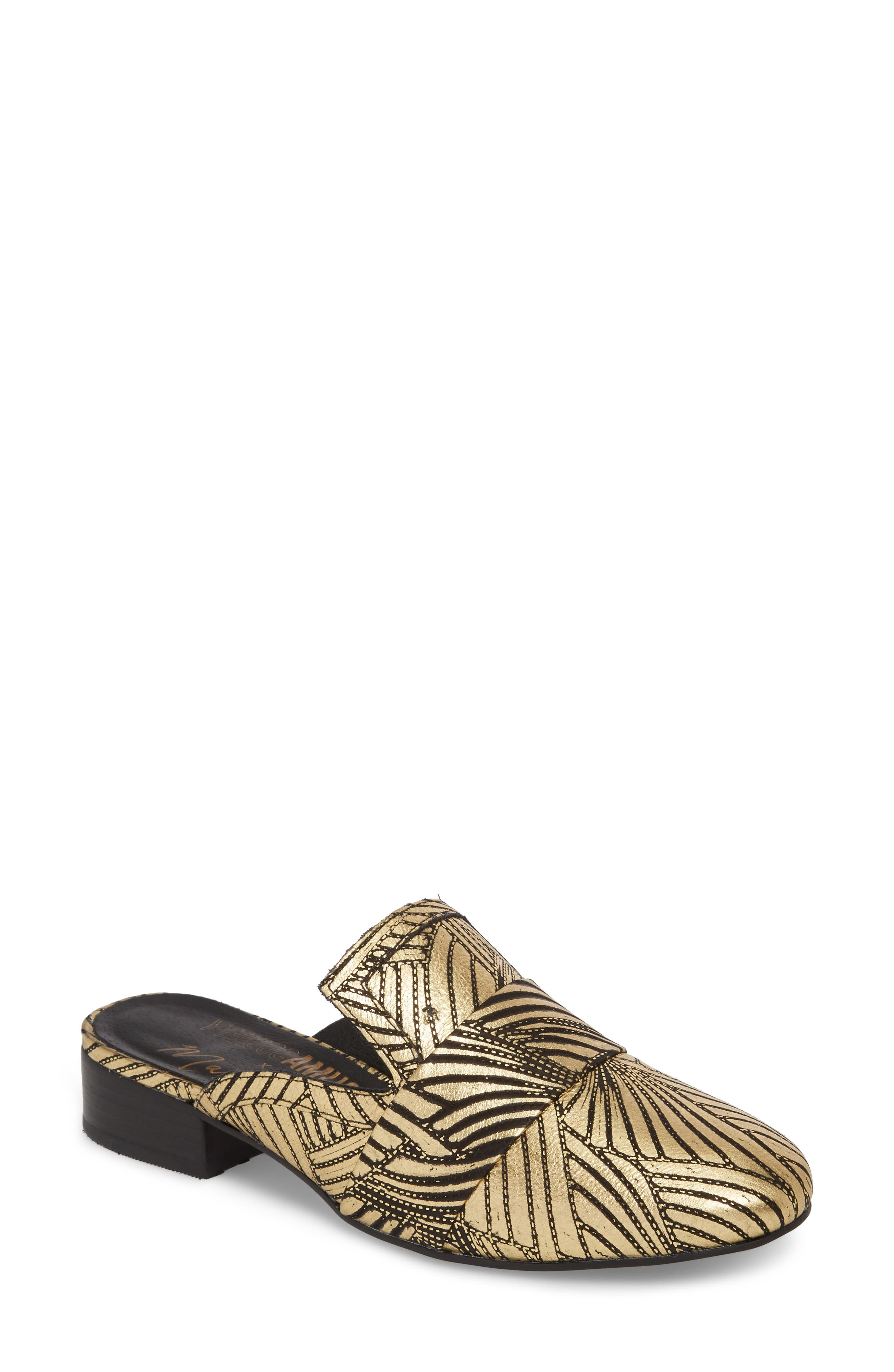 Amuse Society x Matisse Le Bella Loafer Mule,                             Main thumbnail 1, color,                             Gold Floral Leather