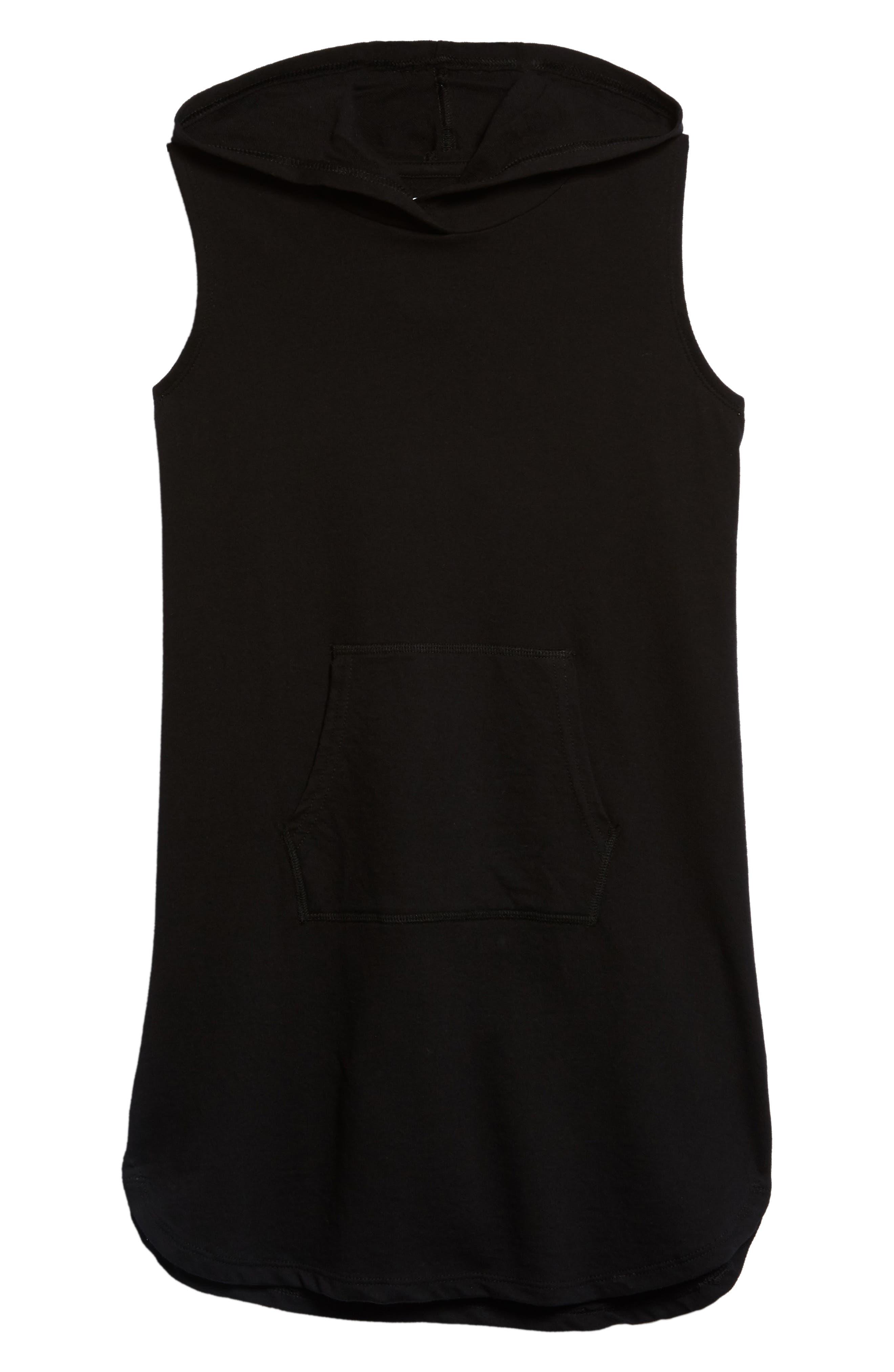 Hooded Terry Dress,                             Main thumbnail 1, color,                             Black