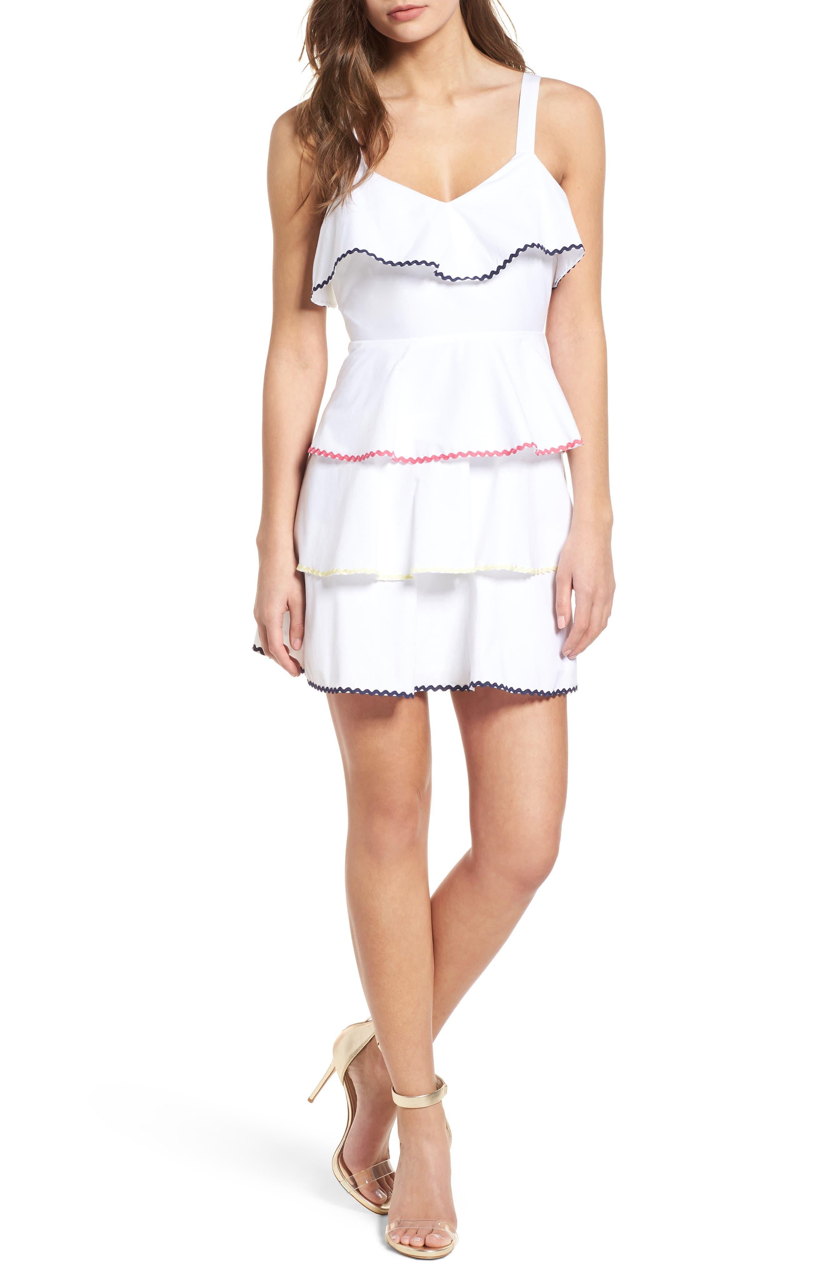 Trento Tiered Minidress,                         Main,                         color, Ivory