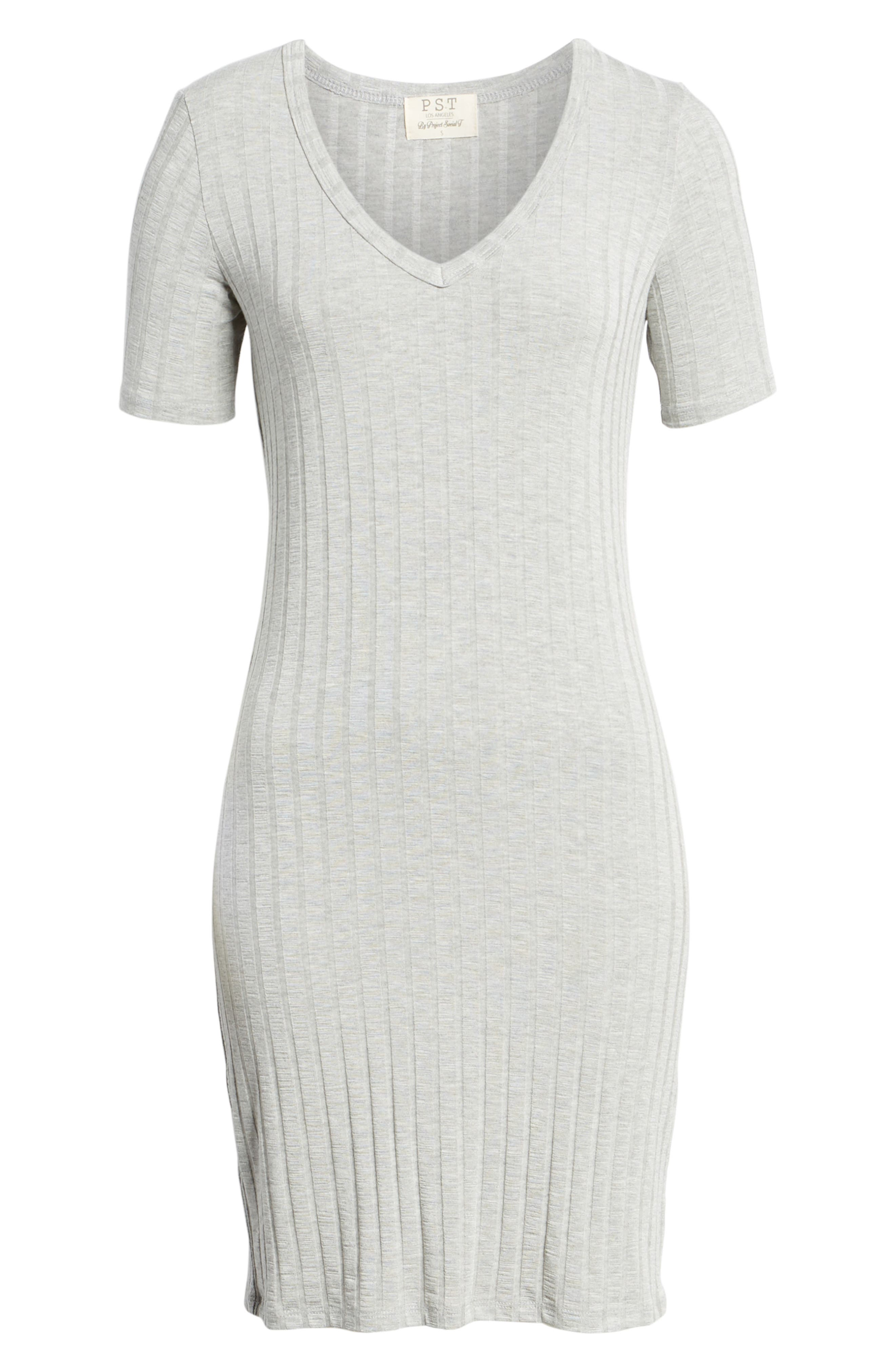 Project Social T Ribbed Body-Con Dress,                             Alternate thumbnail 6, color,                             Heather Grey