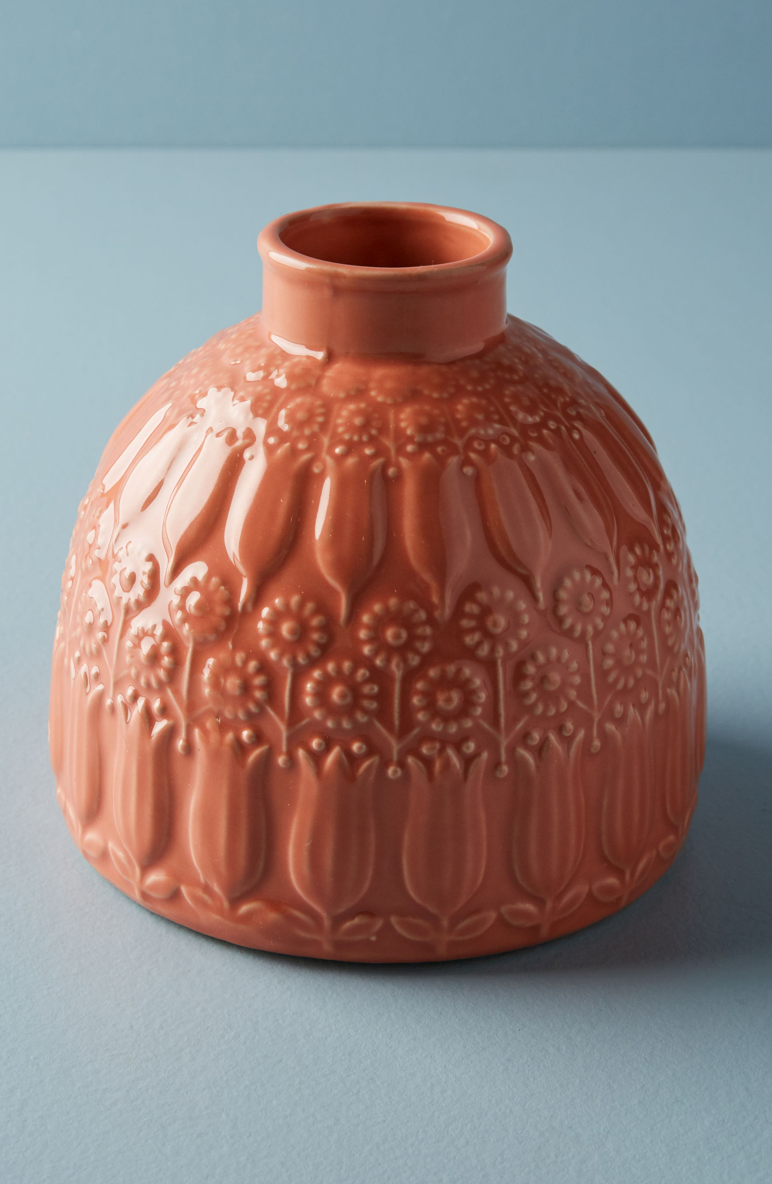 Embossed Floral Vase,                         Main,                         color, Peach