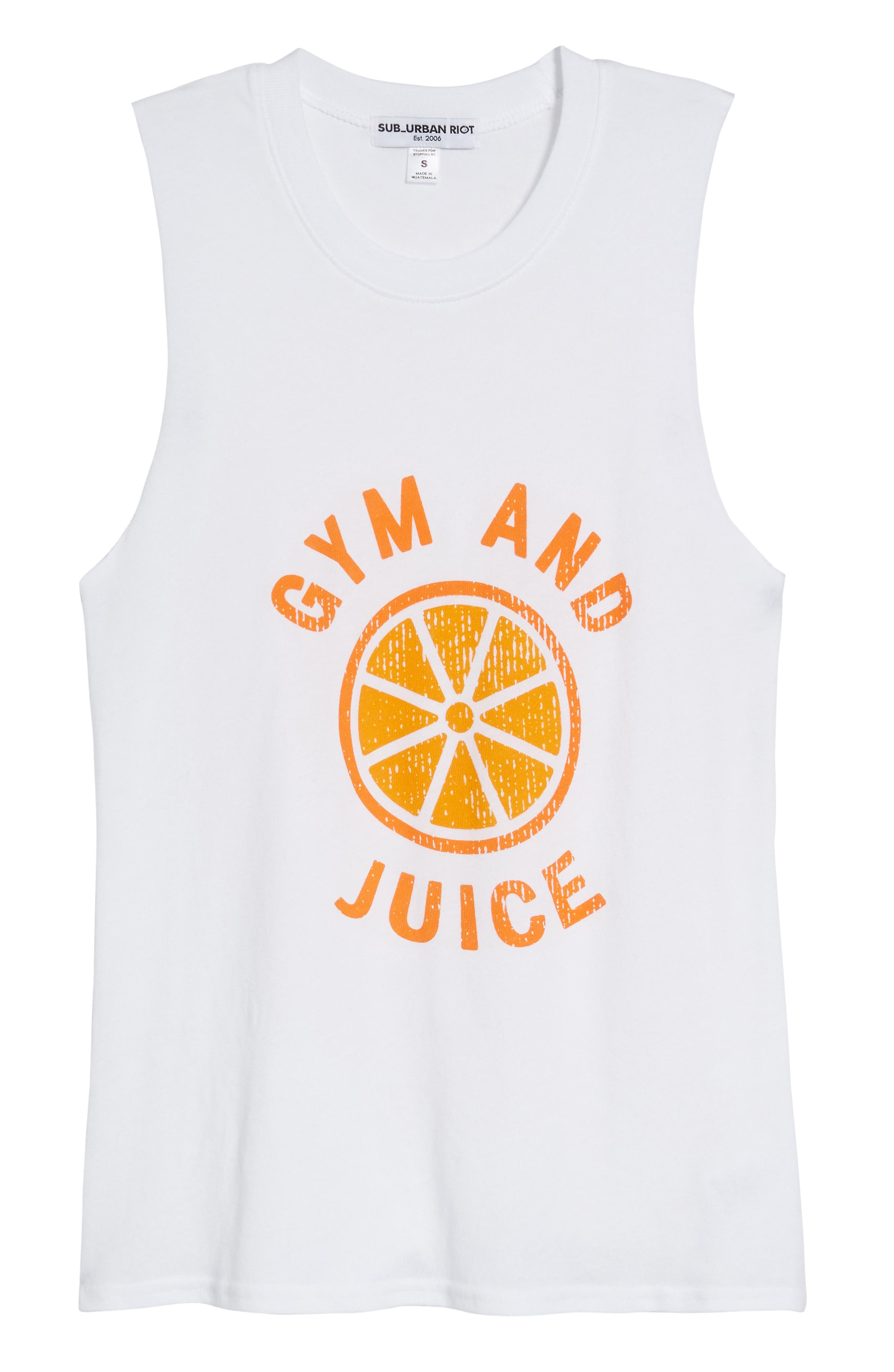 Gym and Juice Muscle Tank Top,                             Alternate thumbnail 7, color,                             White