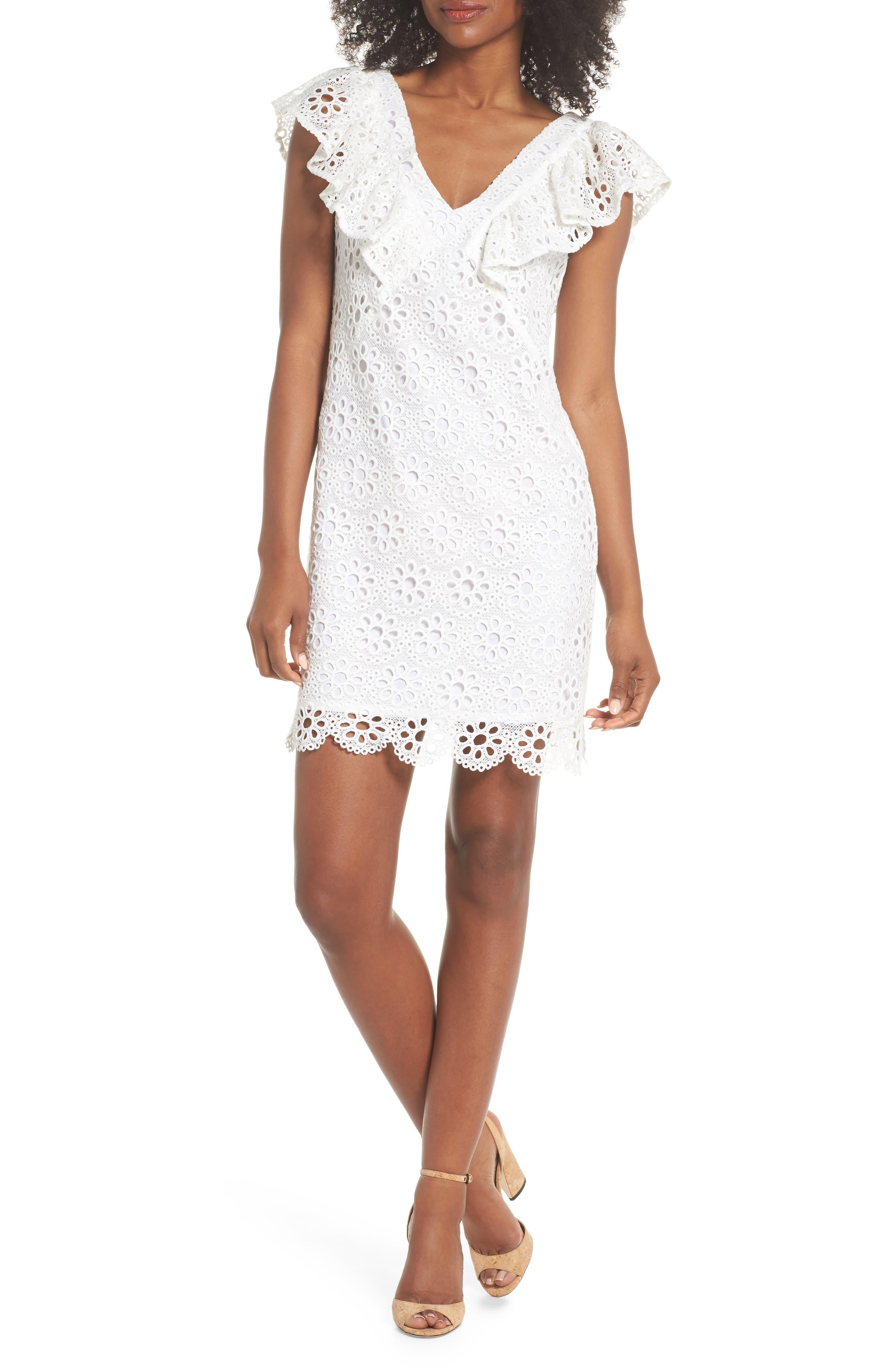 Neriah Eyelet Embroidered Dress,                             Main thumbnail 1, color,                             Whitewash