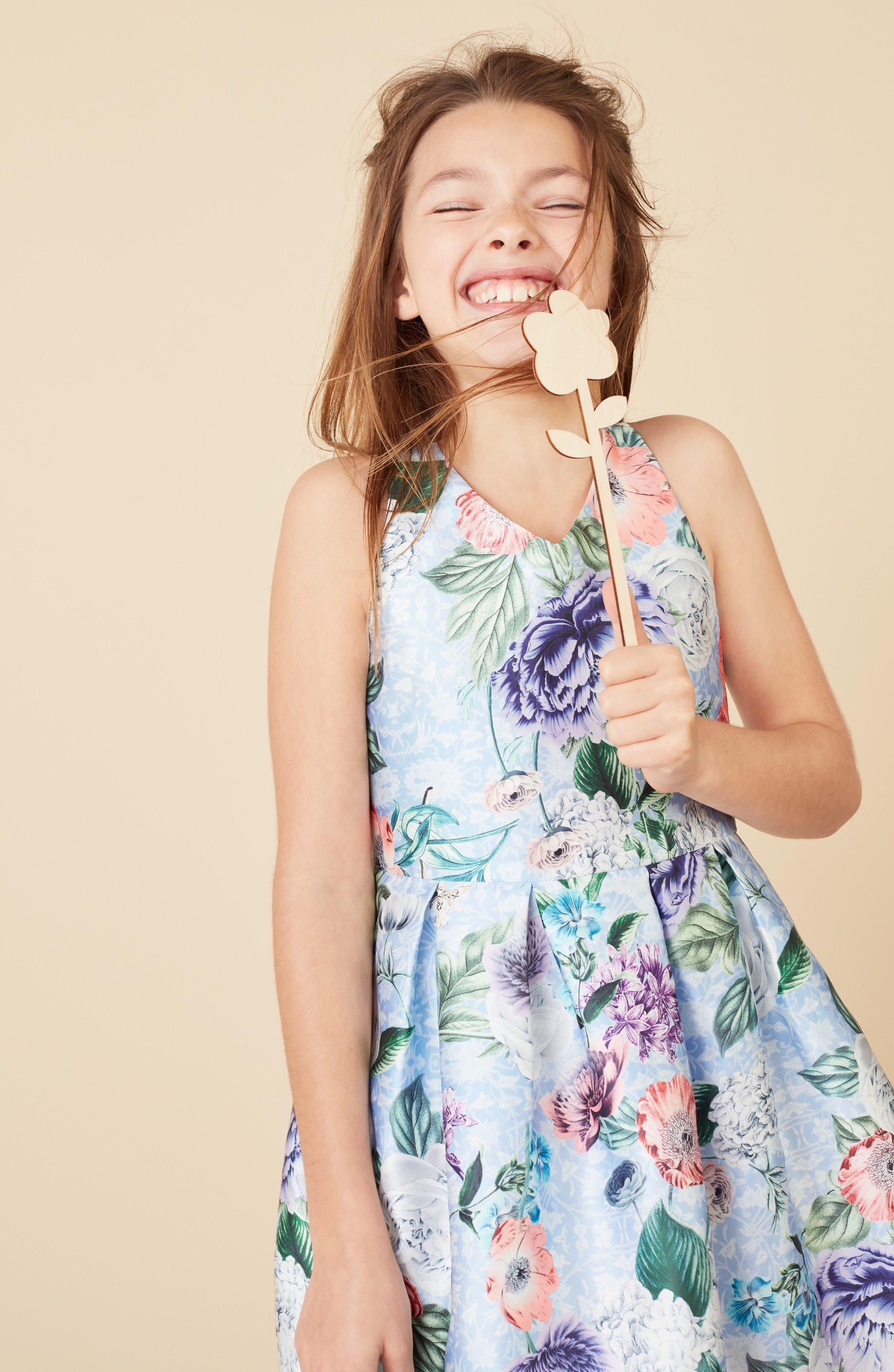 Floral Cross Back Dress,                             Alternate thumbnail 2, color,