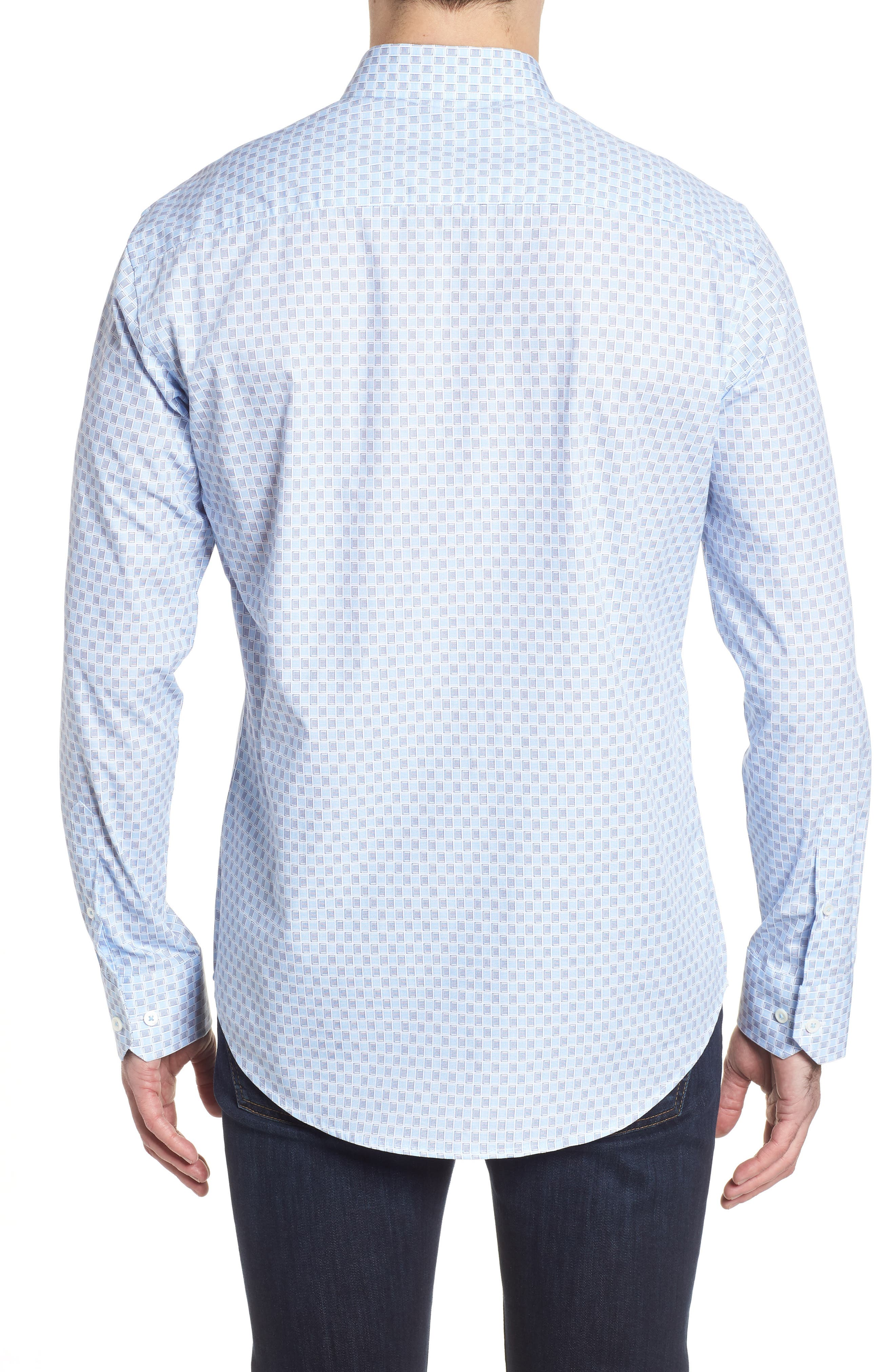 Shaped Fit Ice Cube Check Sport Shirt,                             Alternate thumbnail 2, color,                             Ice Blue