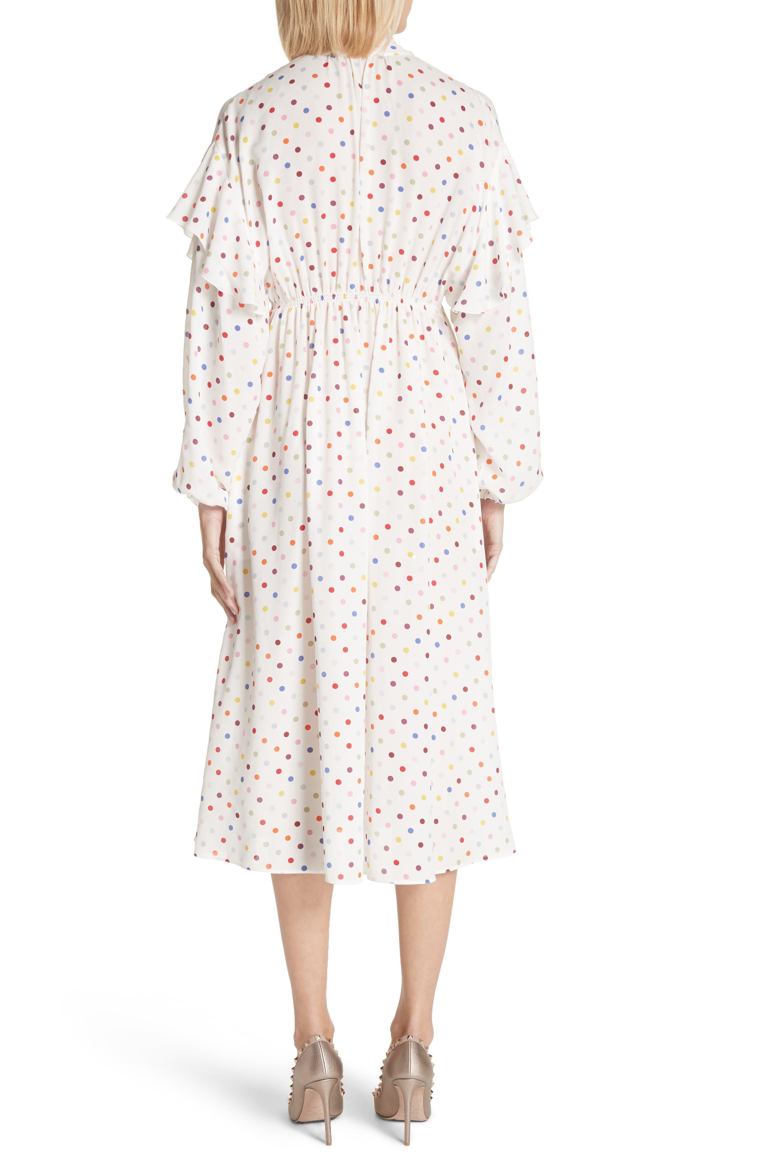 Polka Dot Silk Georgette Dress,                             Alternate thumbnail 2, color,                             Ivory